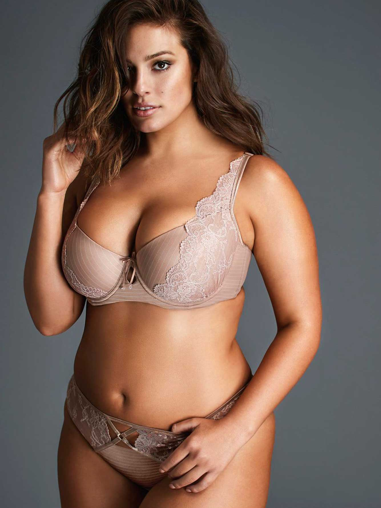 Ashley Graham Essentials Lace & Striped Thong
