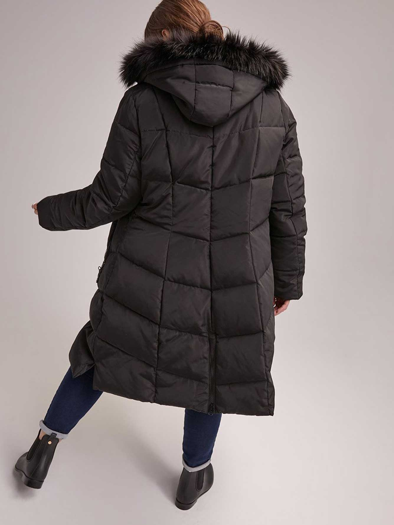 Hooded Long Puffer Coat with Removable Faux Fur Trim - Livik