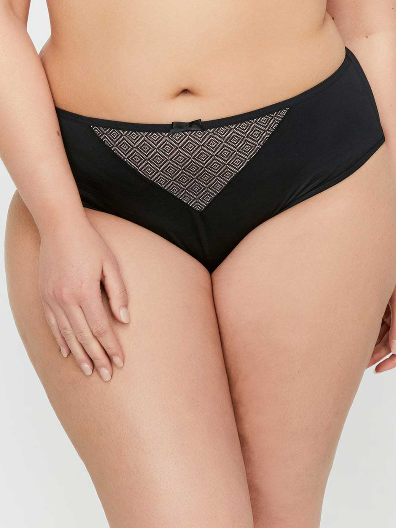 High Cut Satin Microfiber Diamond Mesh Panty - Déesse Collection
