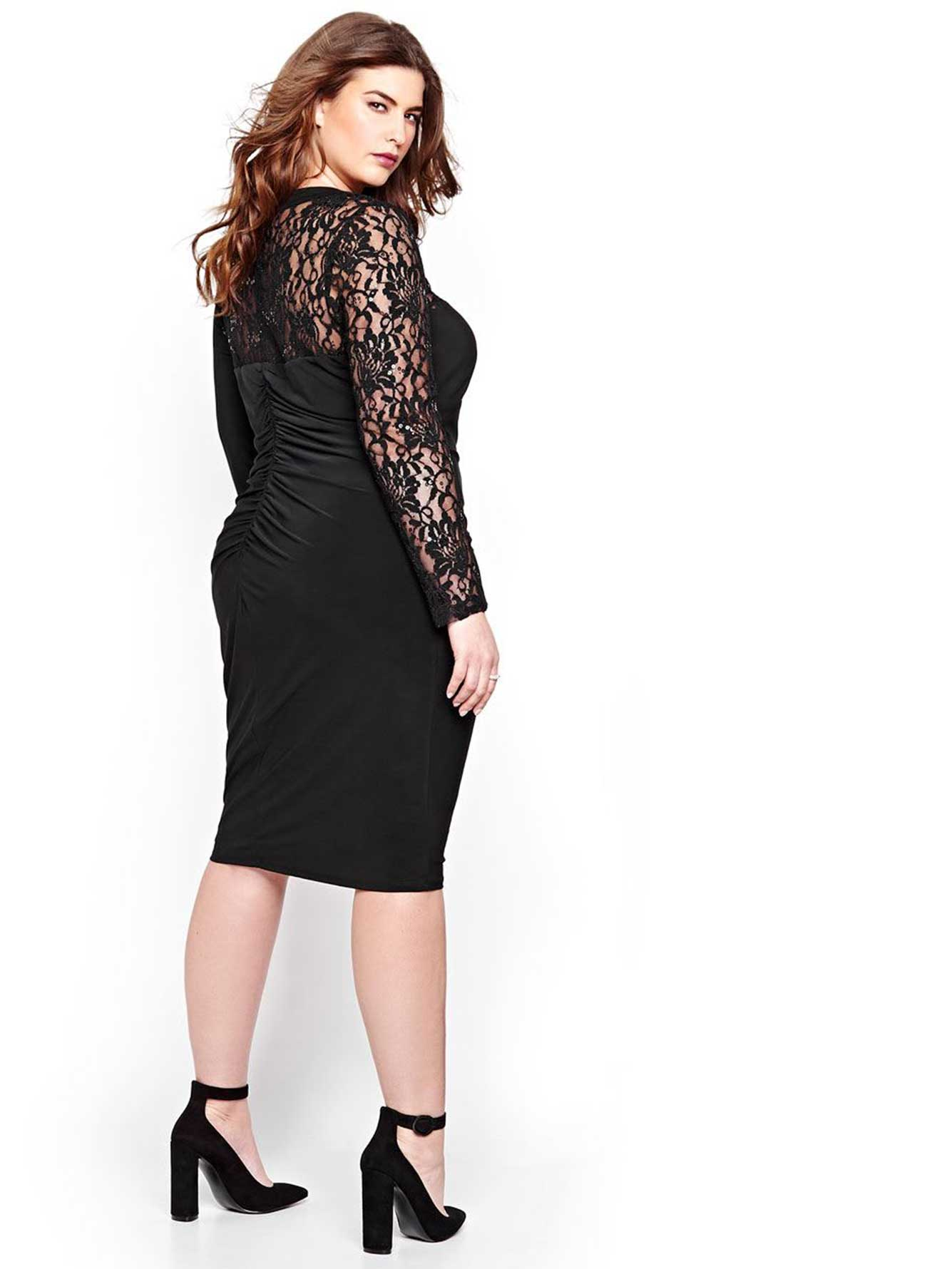 Michel Studio Dress with One Lace Sleeve