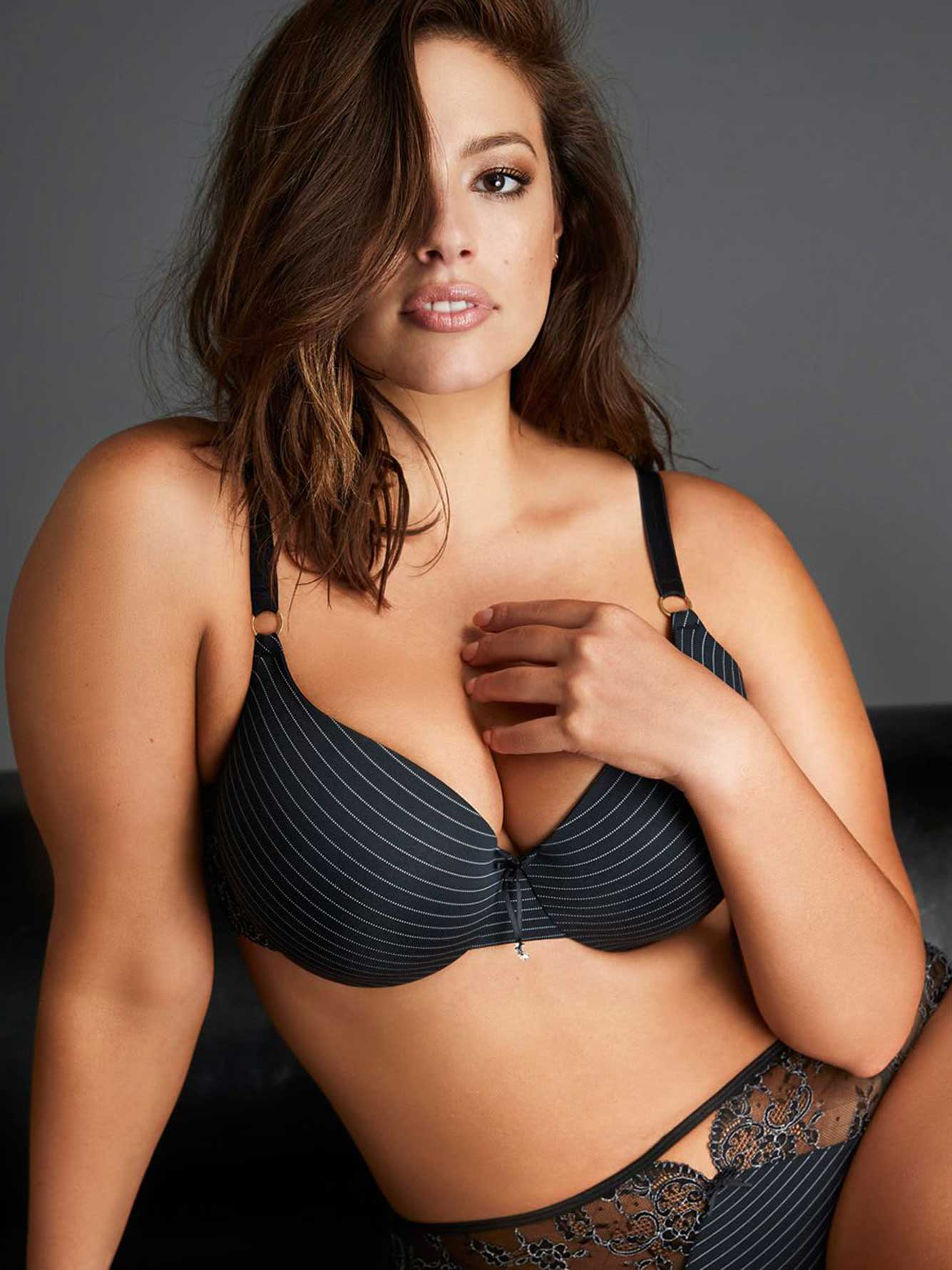 Ashley Graham Essentials High Cut Jersey and Lace Panty