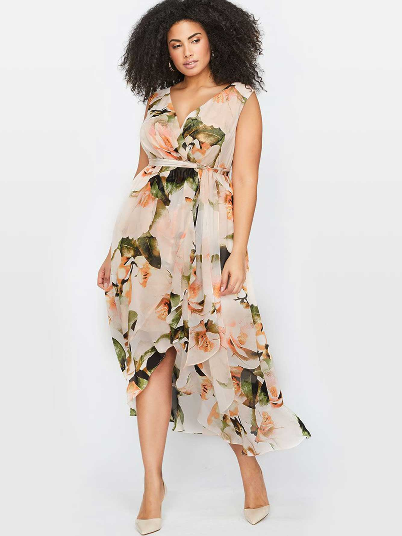 Michel Studio Floral Chiffon Maxi Dress