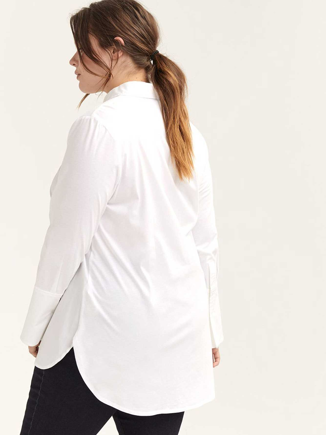 Button-Down Mixed Media Shirt Blouse - L&L