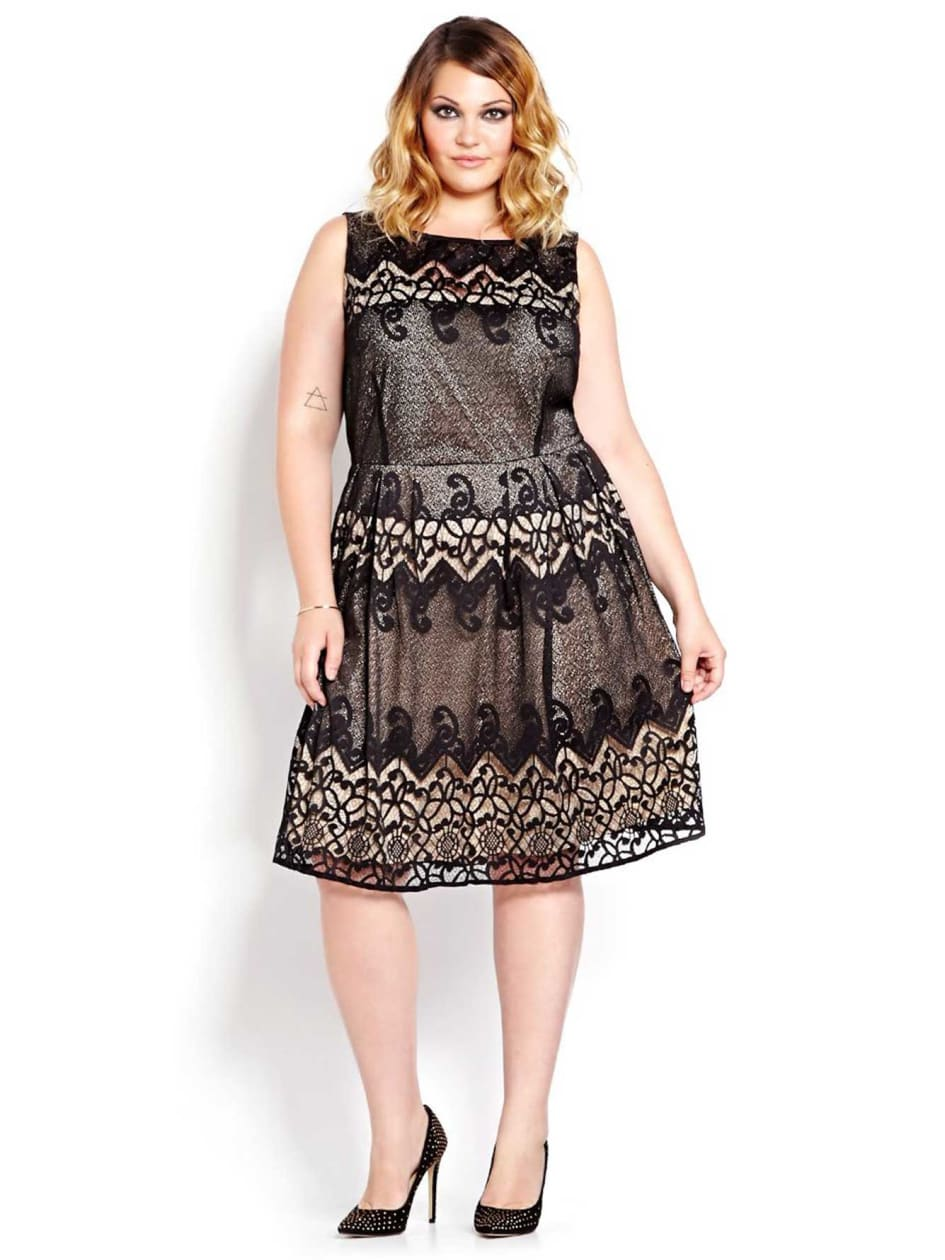 Julian Taylor Fit And Flare Sleeveless Lace Dress