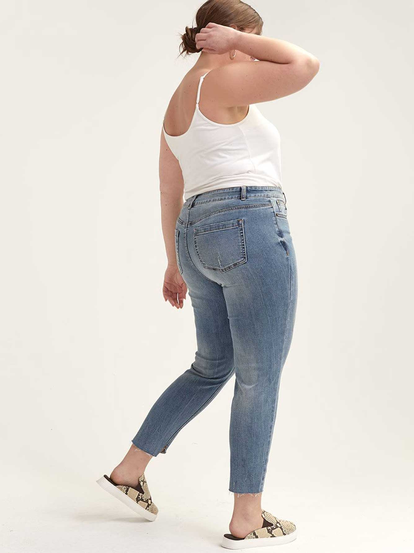 Distressed Skinny Jean with Angled Hem - L&L