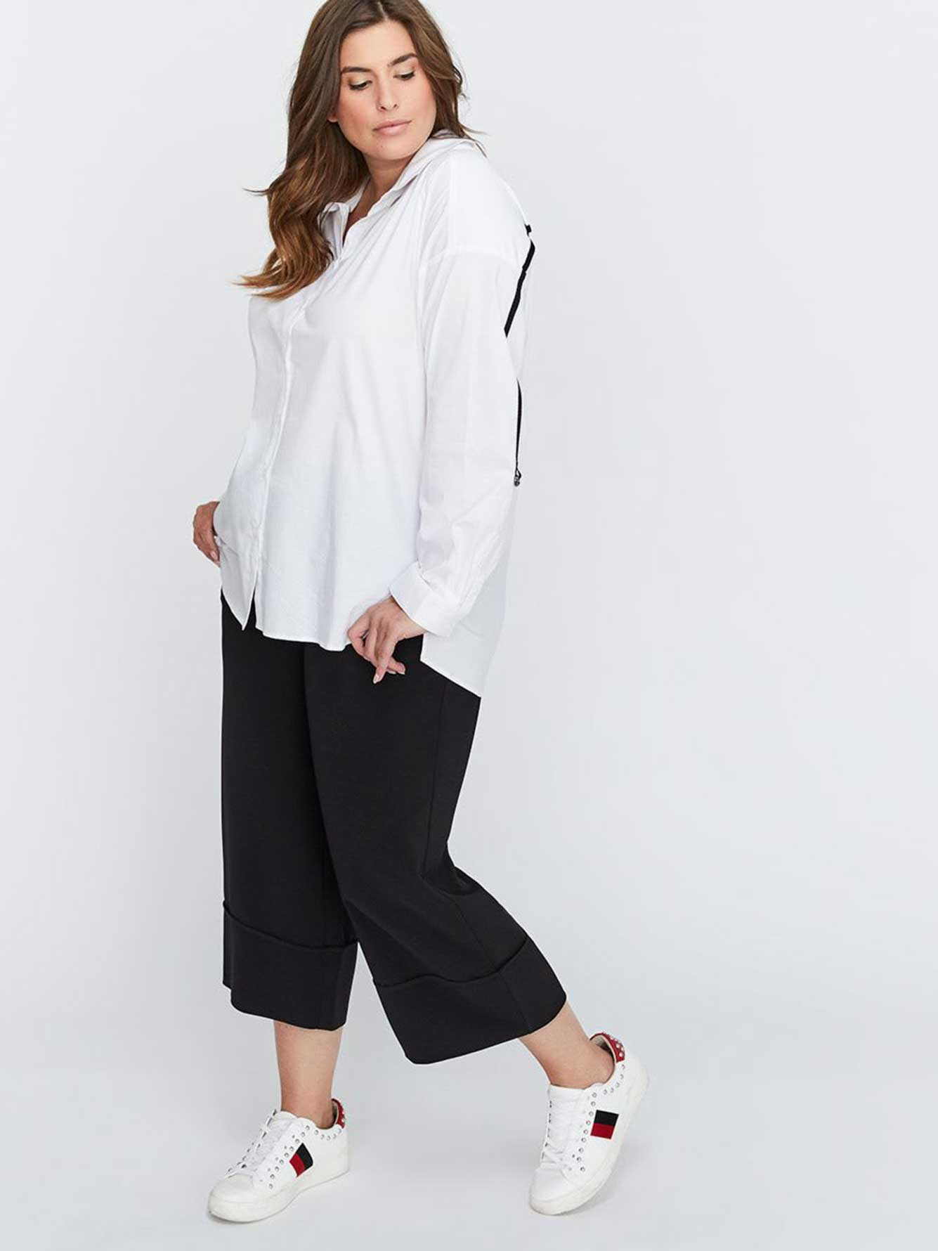 Wide Leg Crop Pant with Fake Cuff - Michel Studio