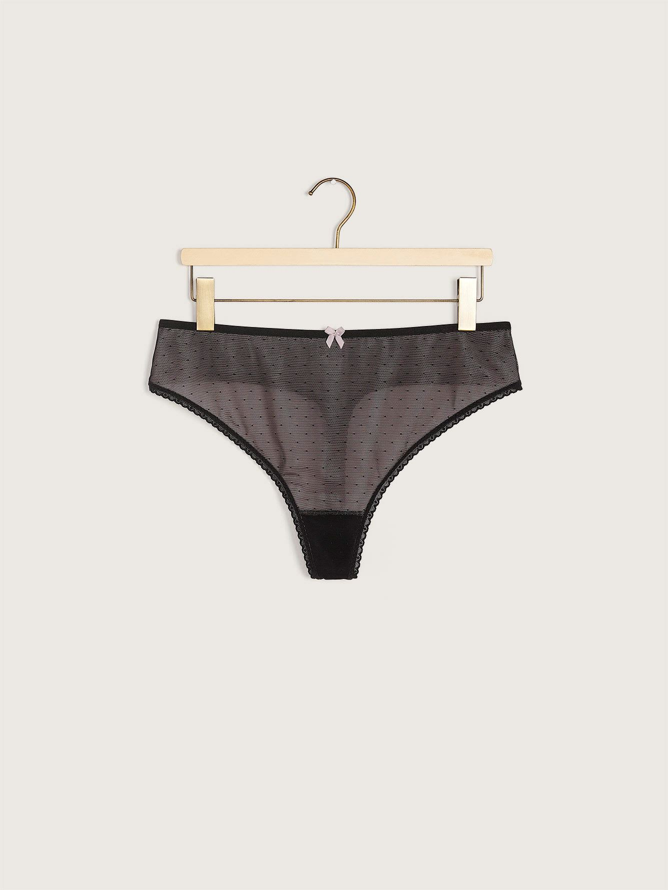 Dotted Thong Panty with Bow - Déesse Collection
