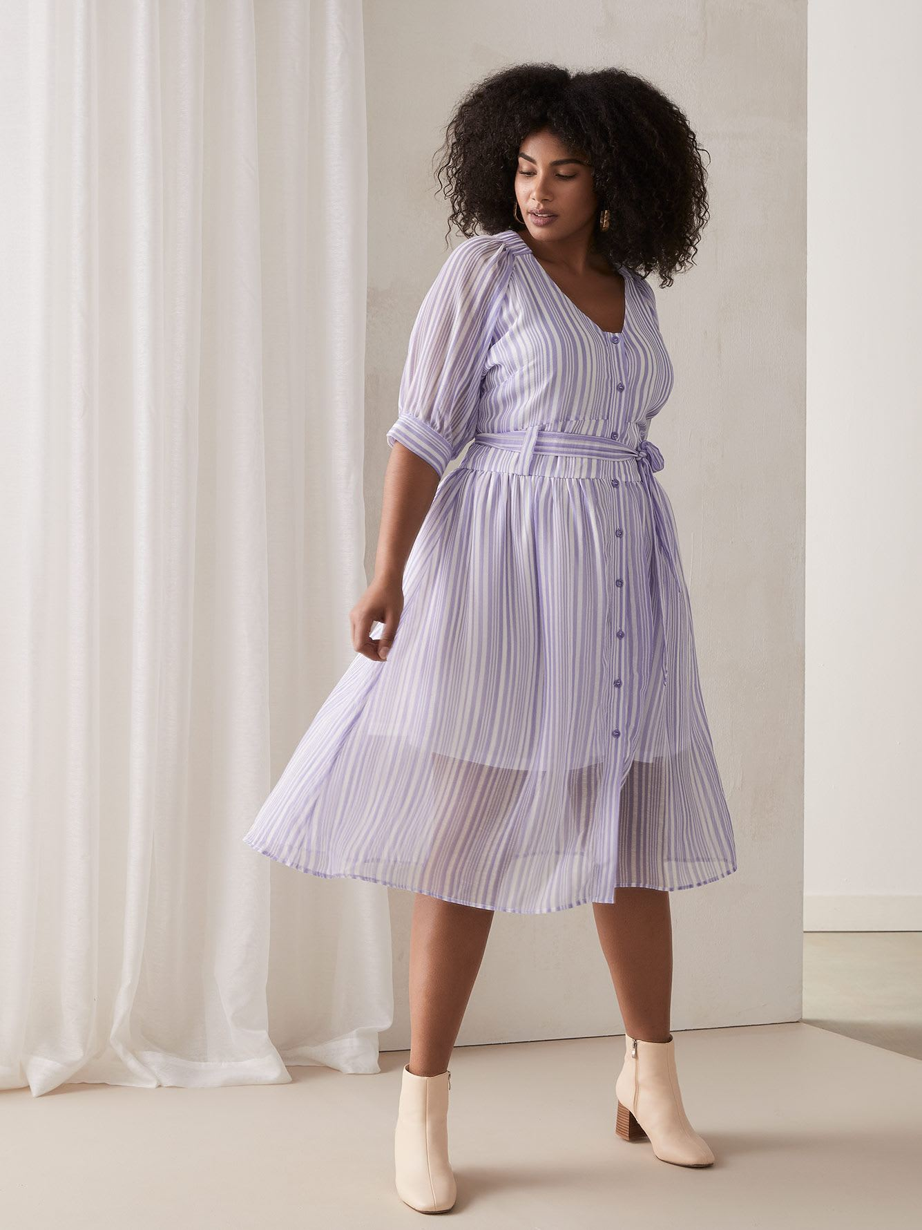 Striped Dress with Button-Down Front - Lost Ink