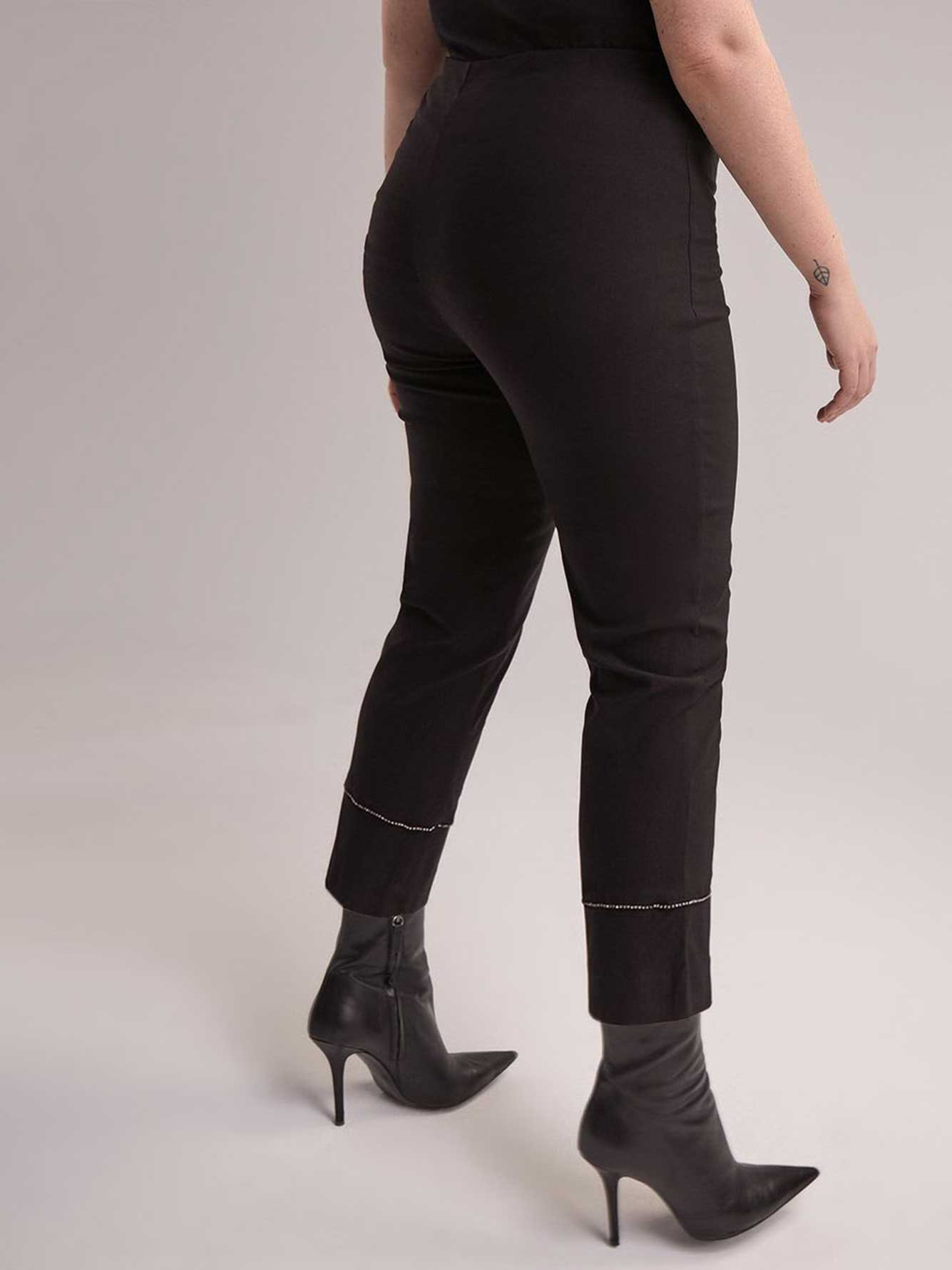 Slim Leg Ankle Pants with Diamond Details at the Cuff - Michel Studio
