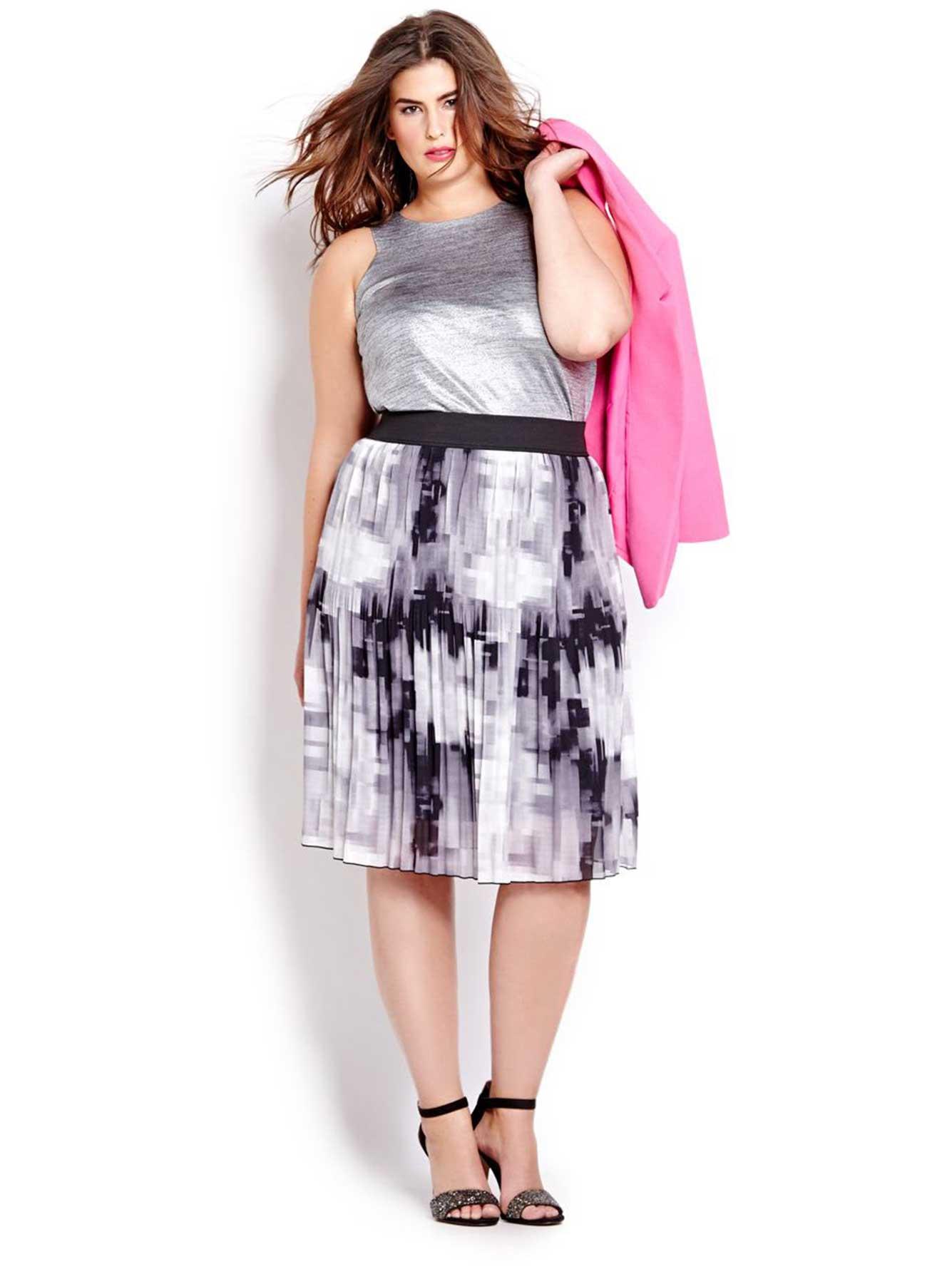 Michel Studio Printed Pleated Skirt