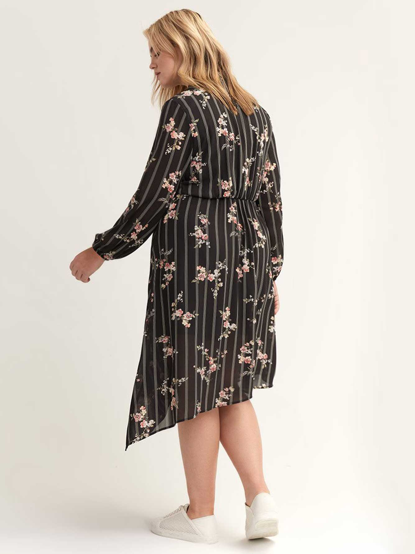 Floral Faux-Wrap Dress with Asymmetrical Hem