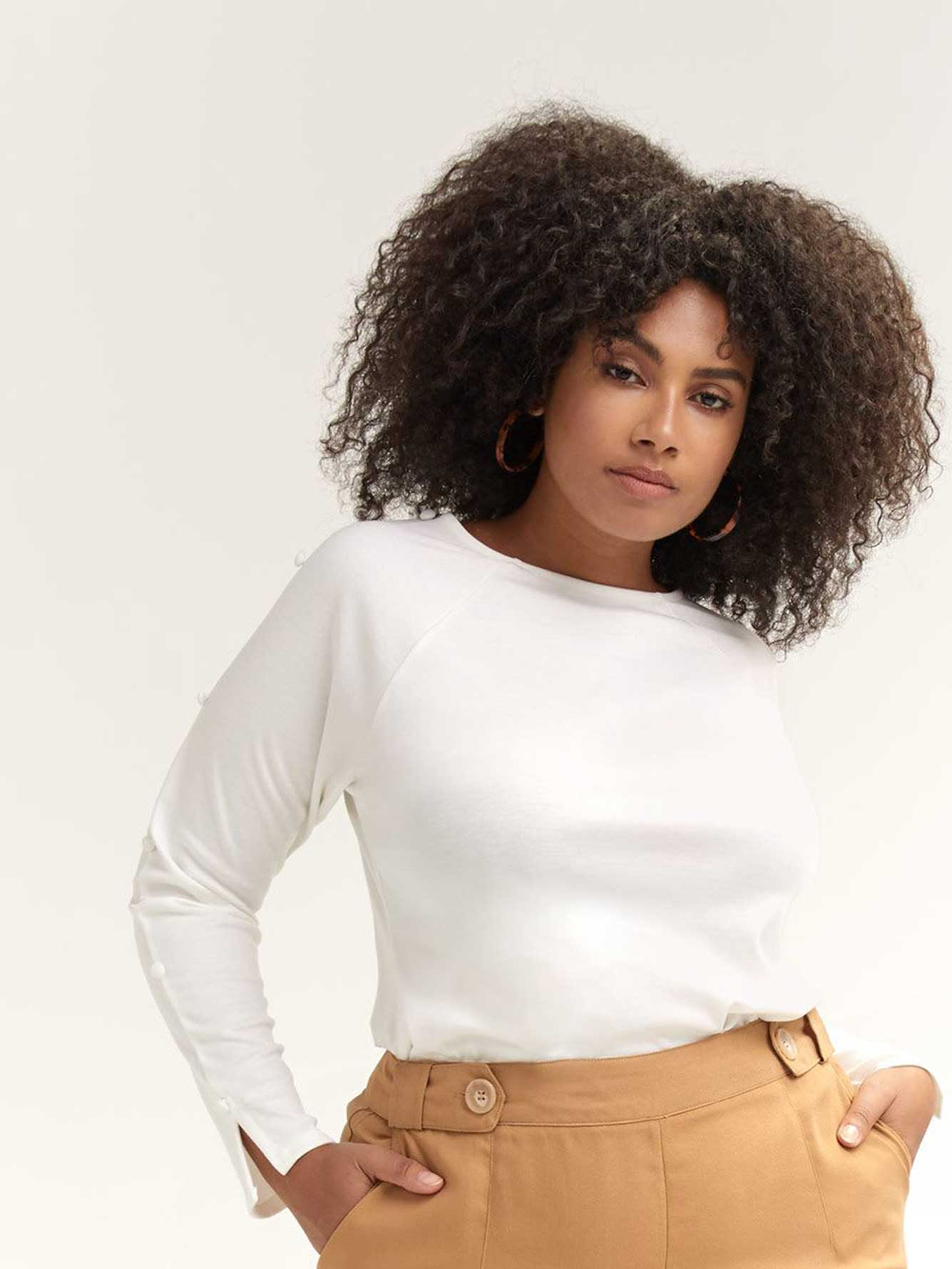 Cowl-Neck Top with Button Sleeves - Lost Ink