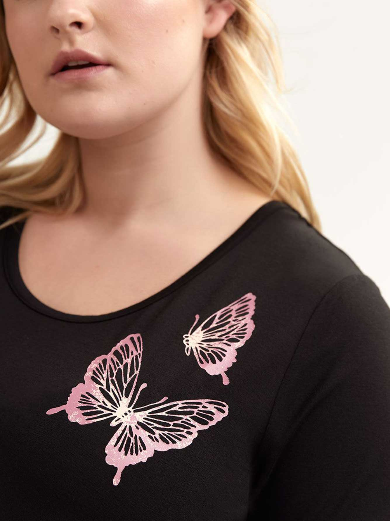 Short Sleeve Butterfly Pajama Top - Déesse Collection