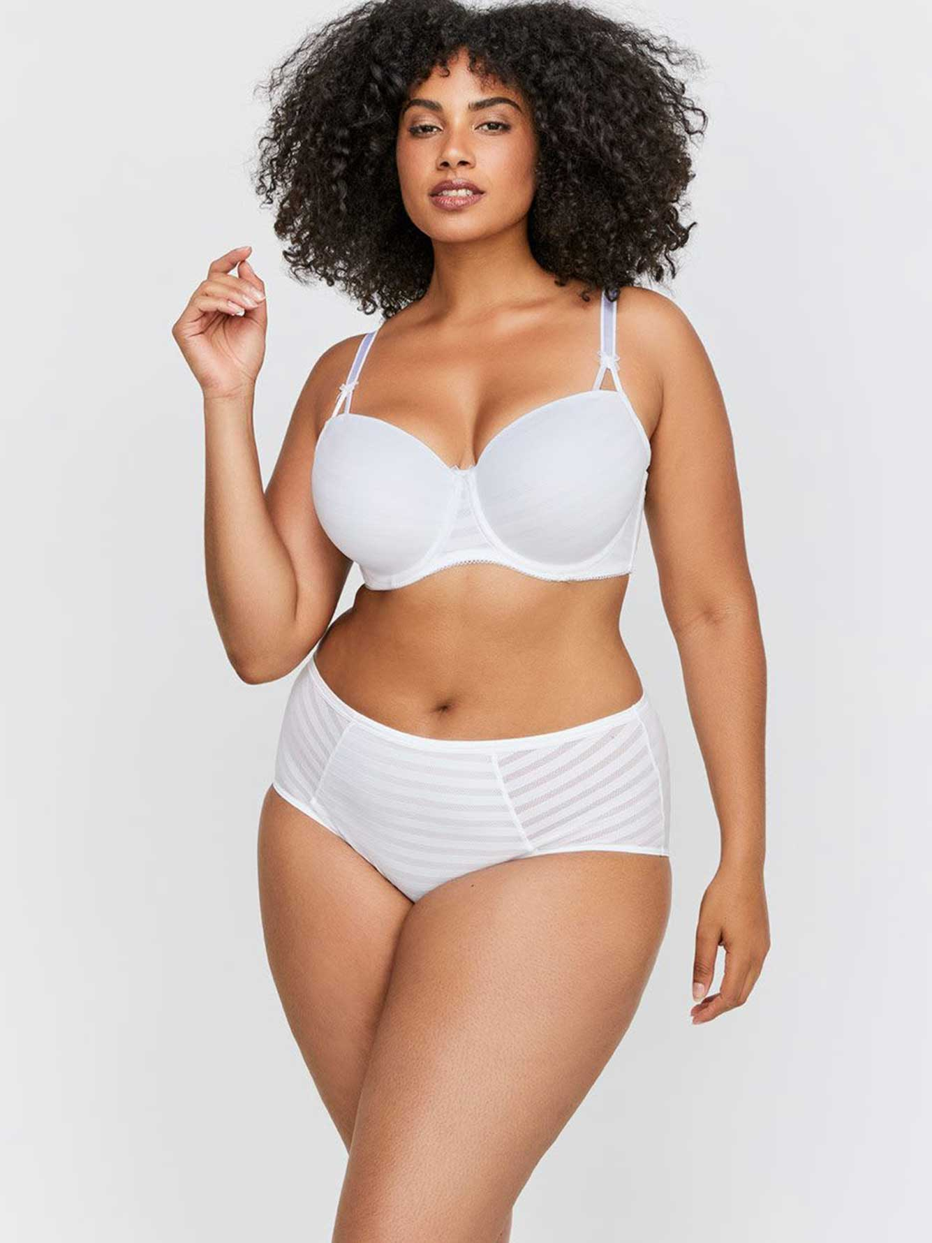White Basic Shadow Stripe Balconette Bra Sizes G & H - Déesse Collection