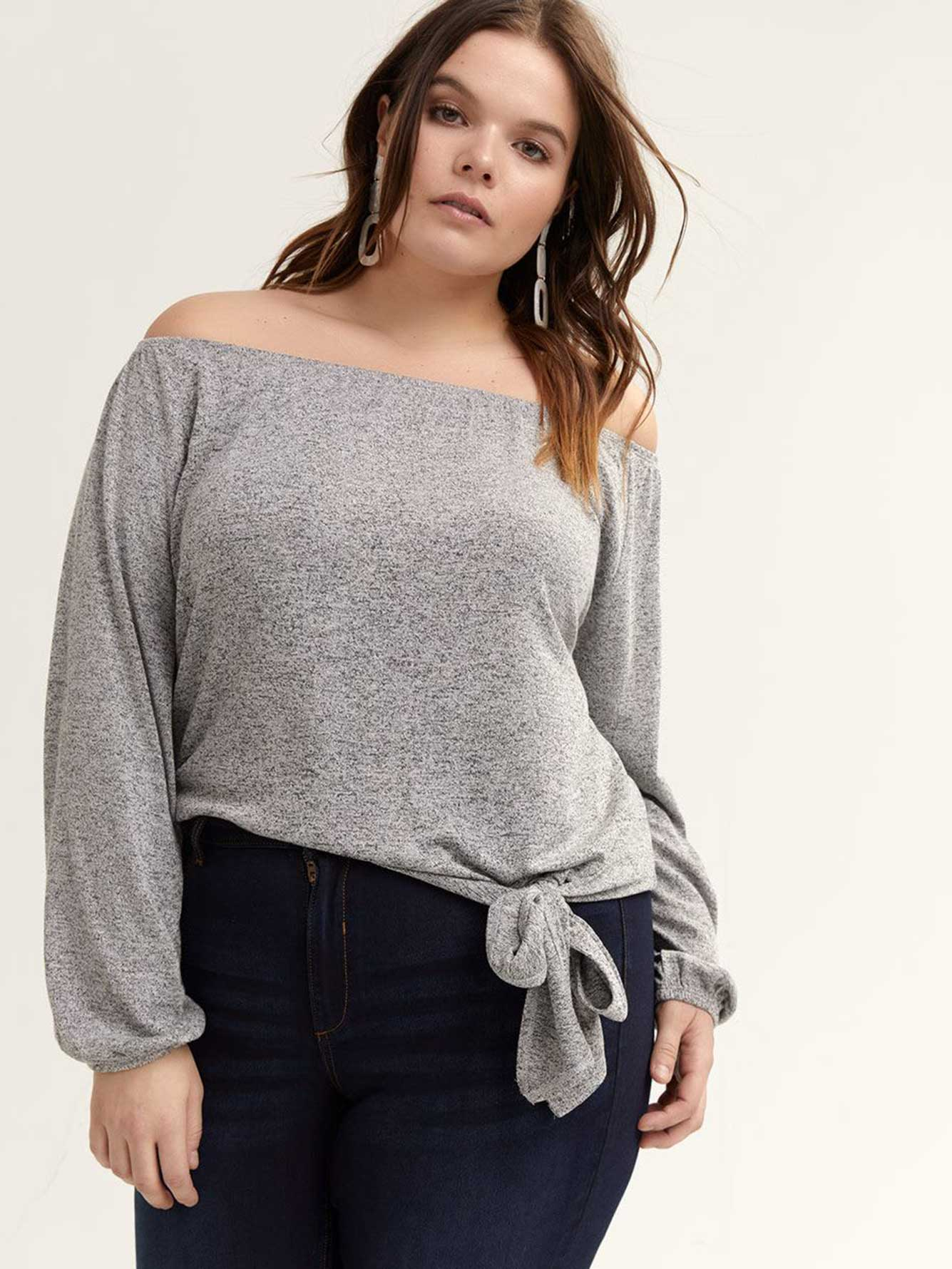 Off-the-Shoulder Long Sleeve Top - L&L