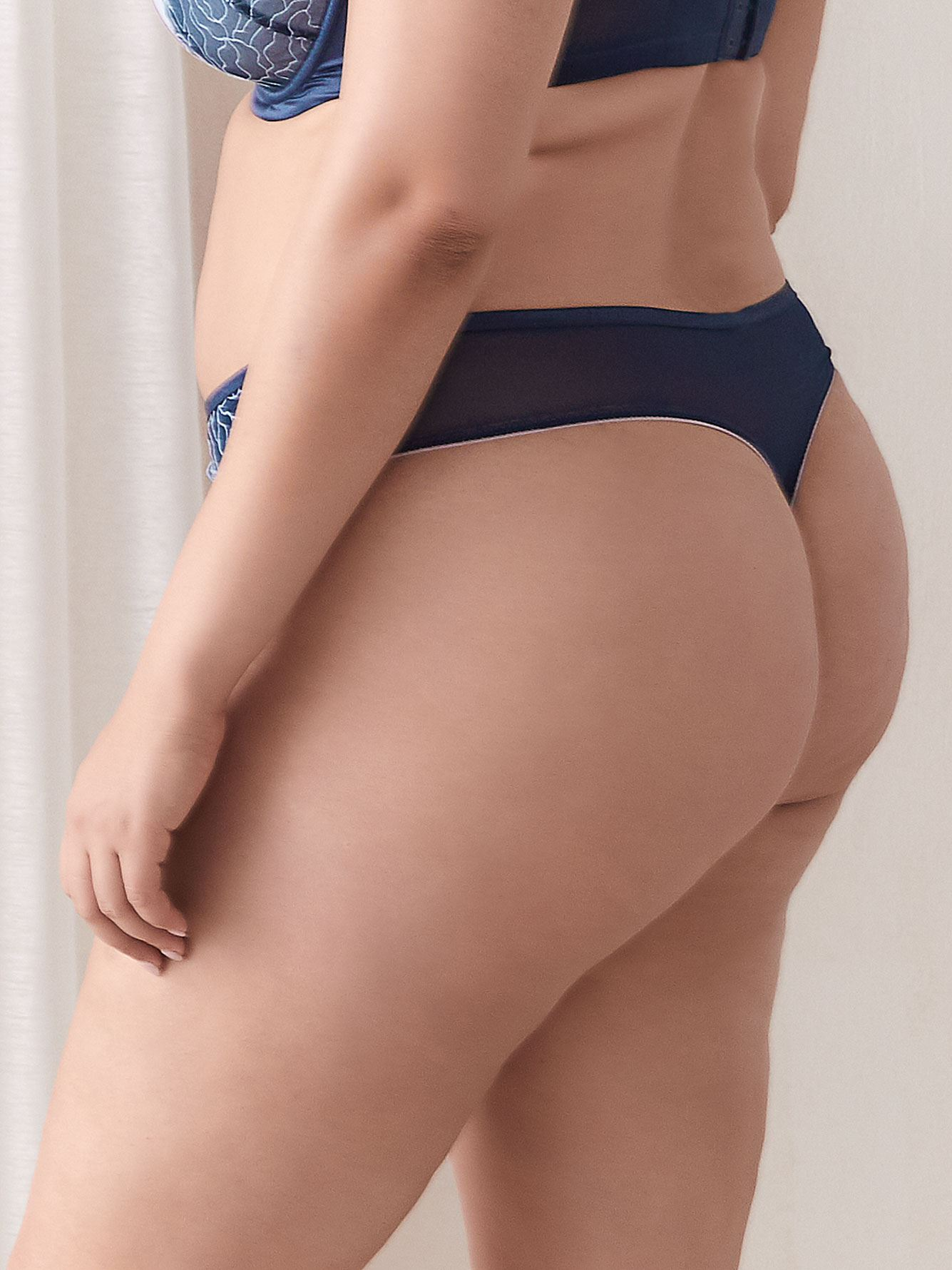 Stretch Satin Thong Panty - Ashley Graham