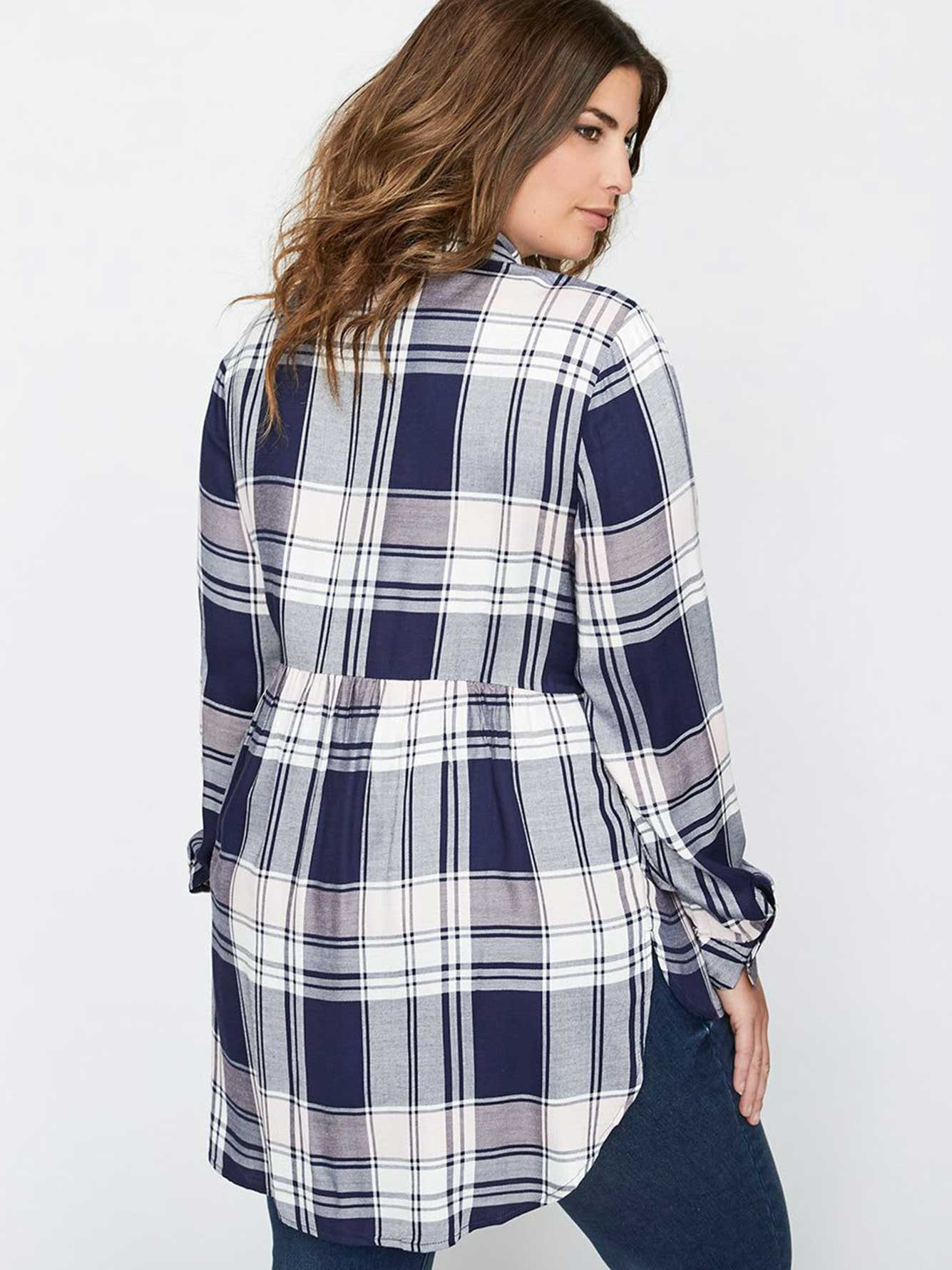 L&L Long Sleeve Babydoll Plaid Shirt