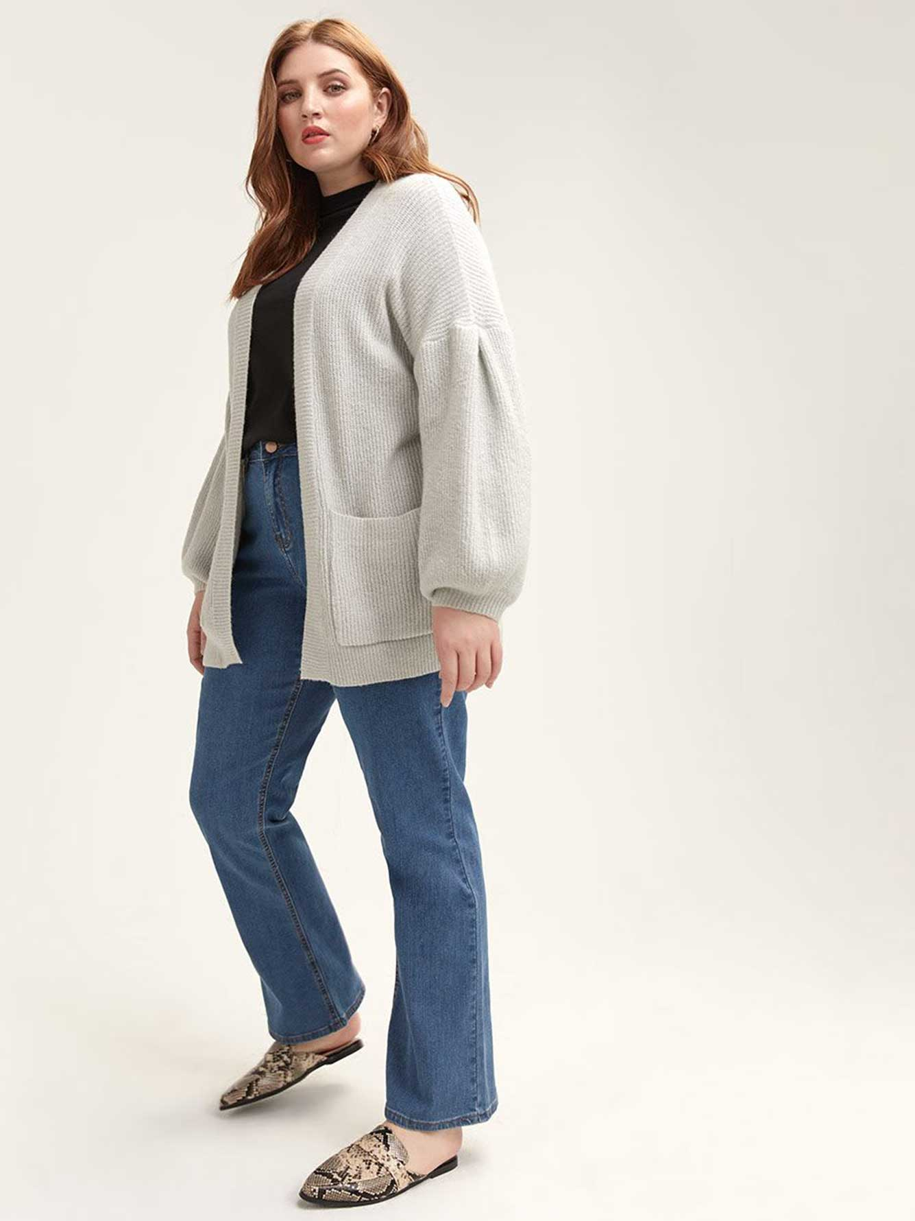 Grey Cardigan with Tuck Sleeve - Lost Ink