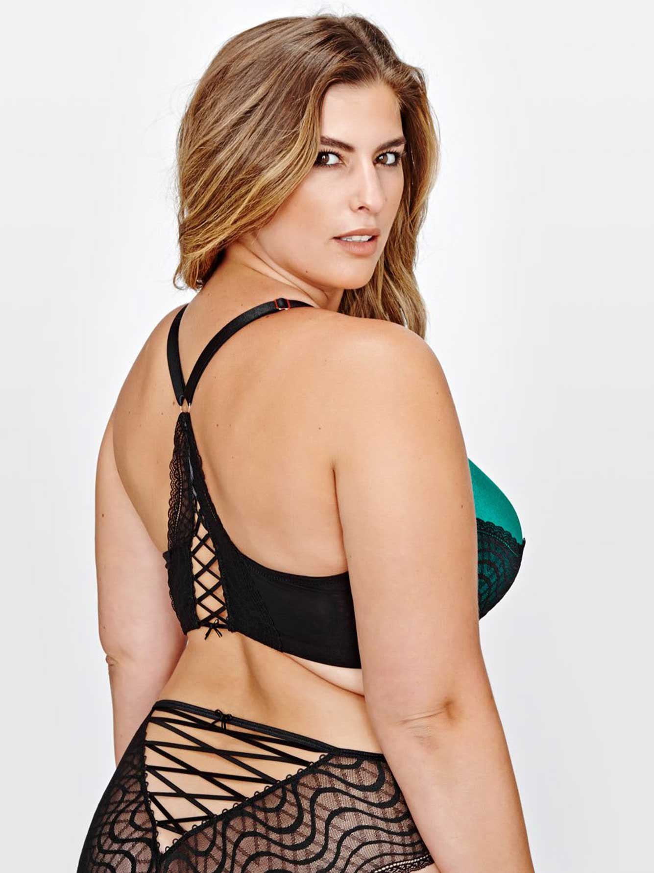 Ashley Graham Front Lace & Lace-Up Back Icon Bra, G & H