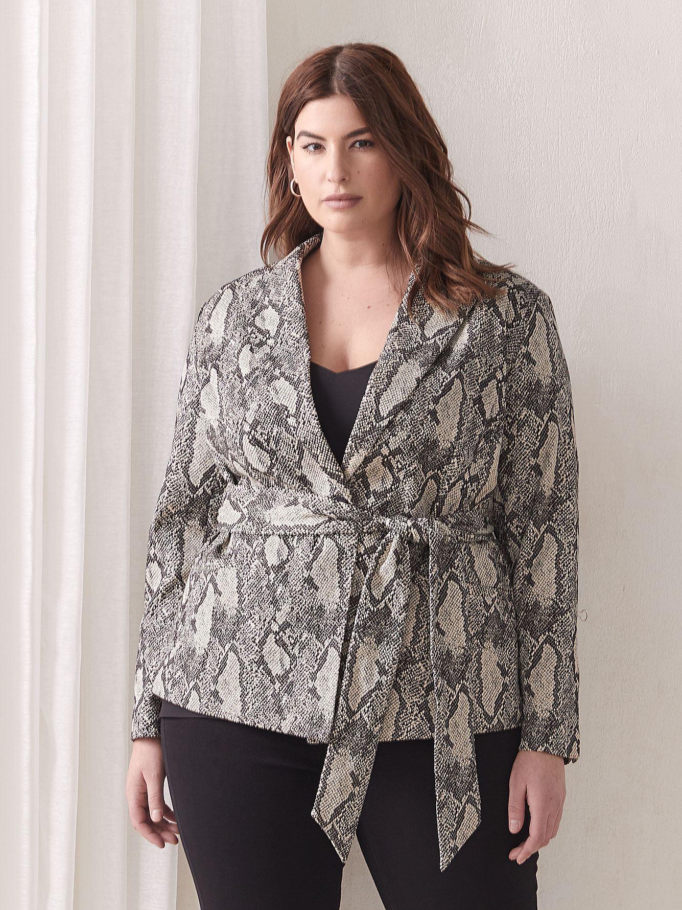 Snakeskin Print Sash-Belted Blazer - RACHEL Rachel Roy