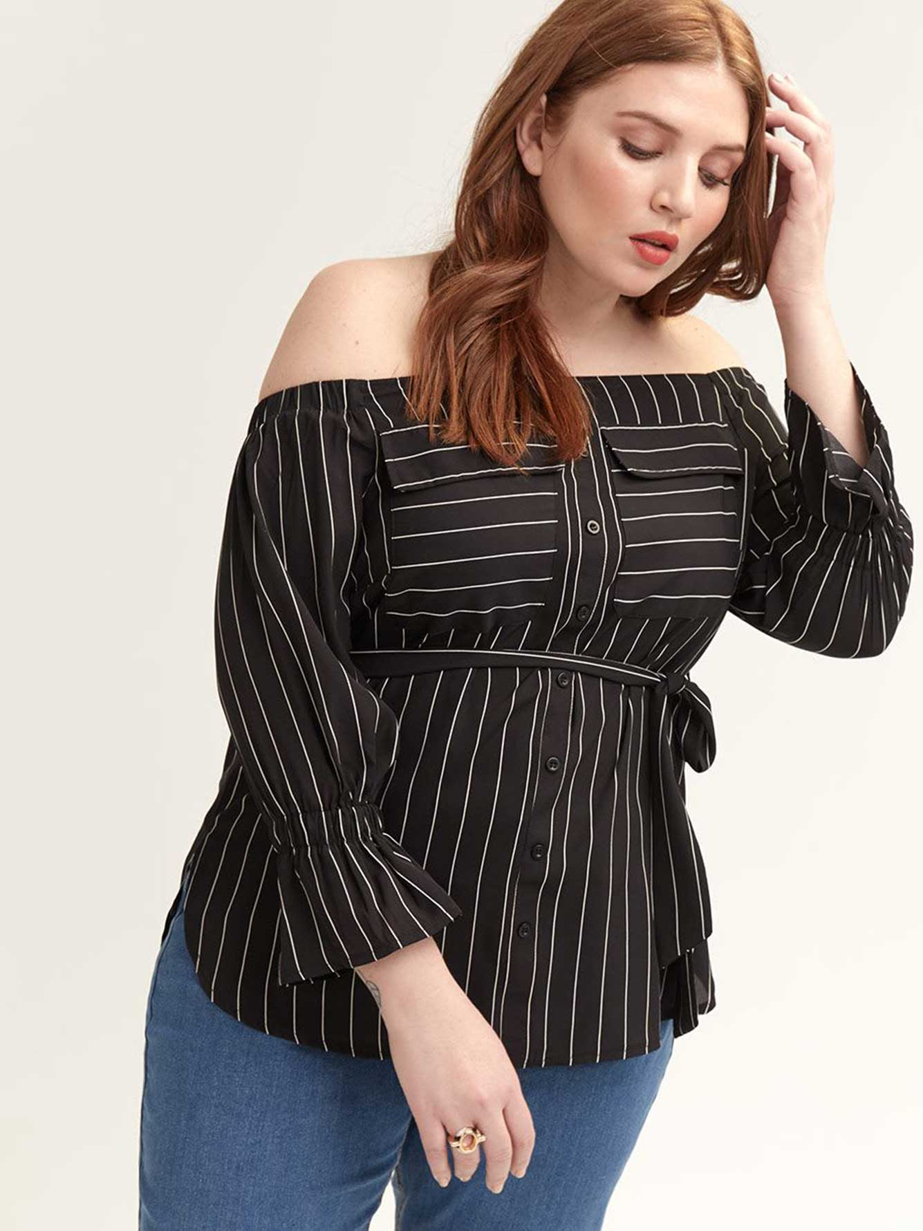 Off-the-Shoulder Top with Button-Down Front - Lost Ink