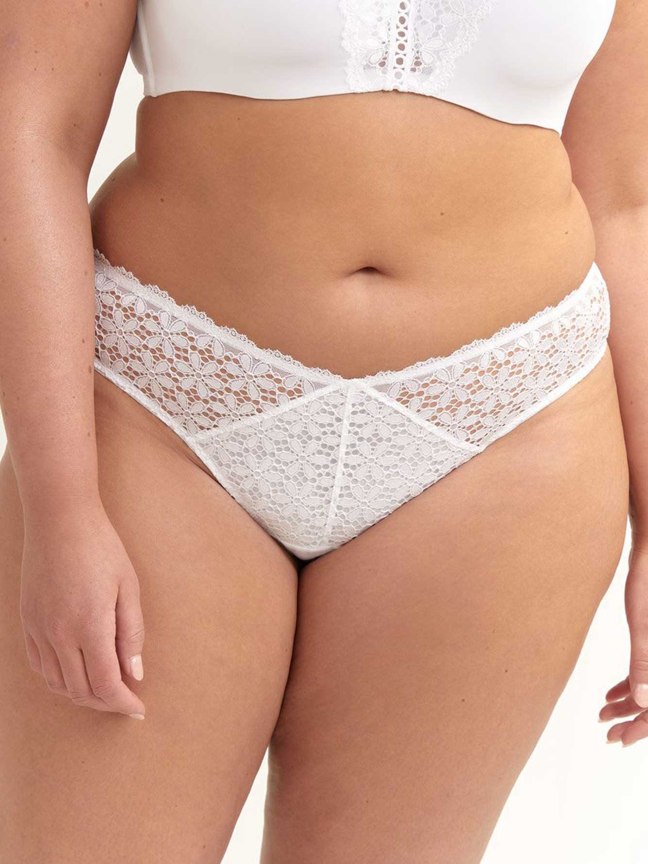 Ashley Graham Lace & Mesh Thong