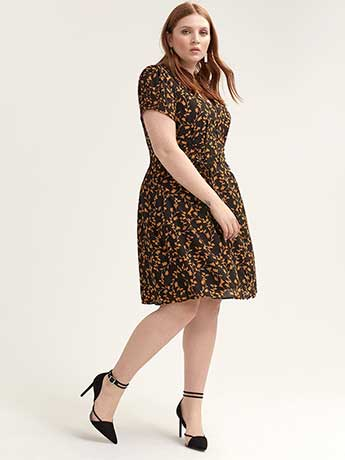 Floral Fit & Flare Short-Sleeve Dress - City Chic