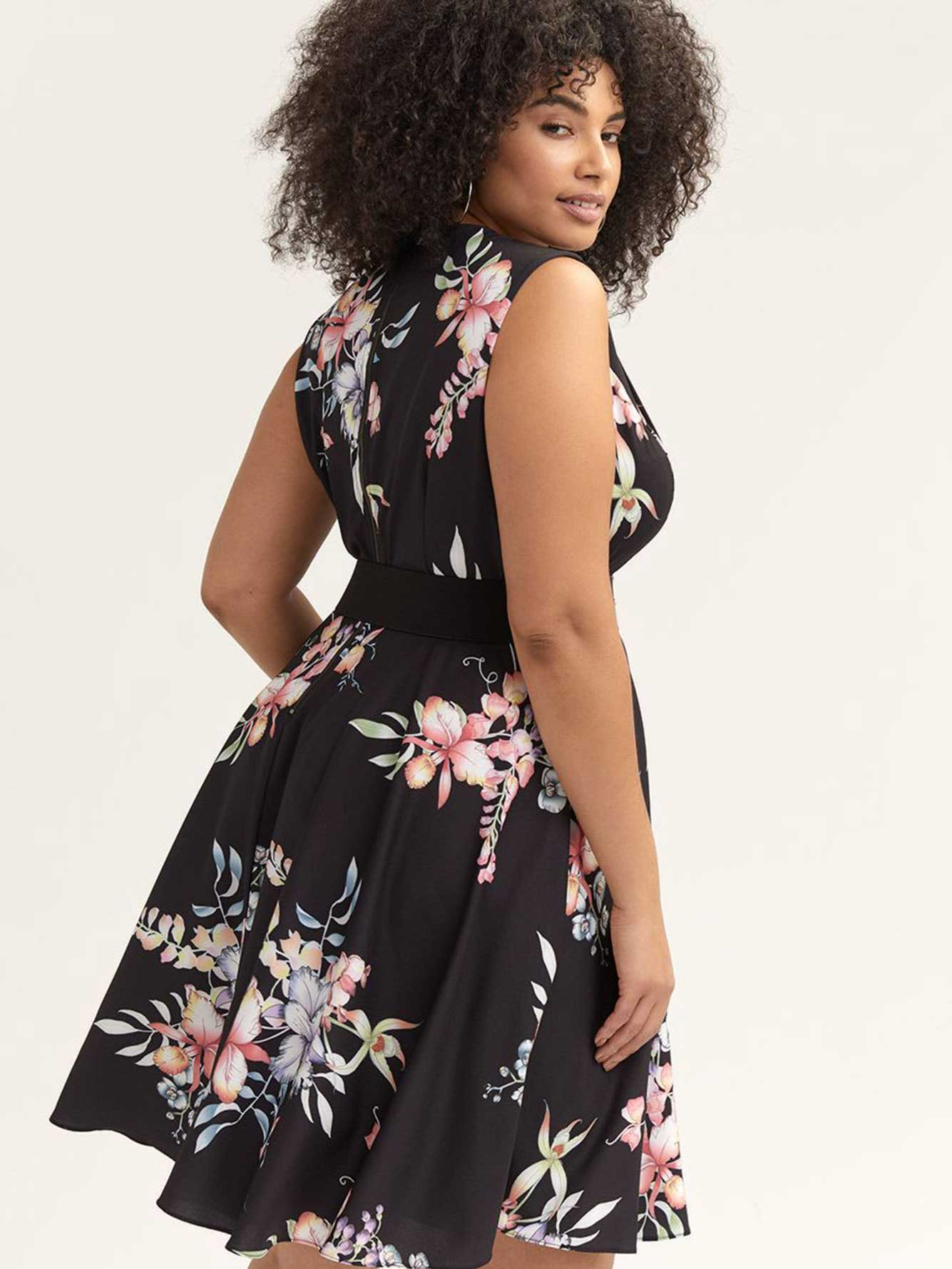 Fit & Flare Belted Floral Dress - City Chic