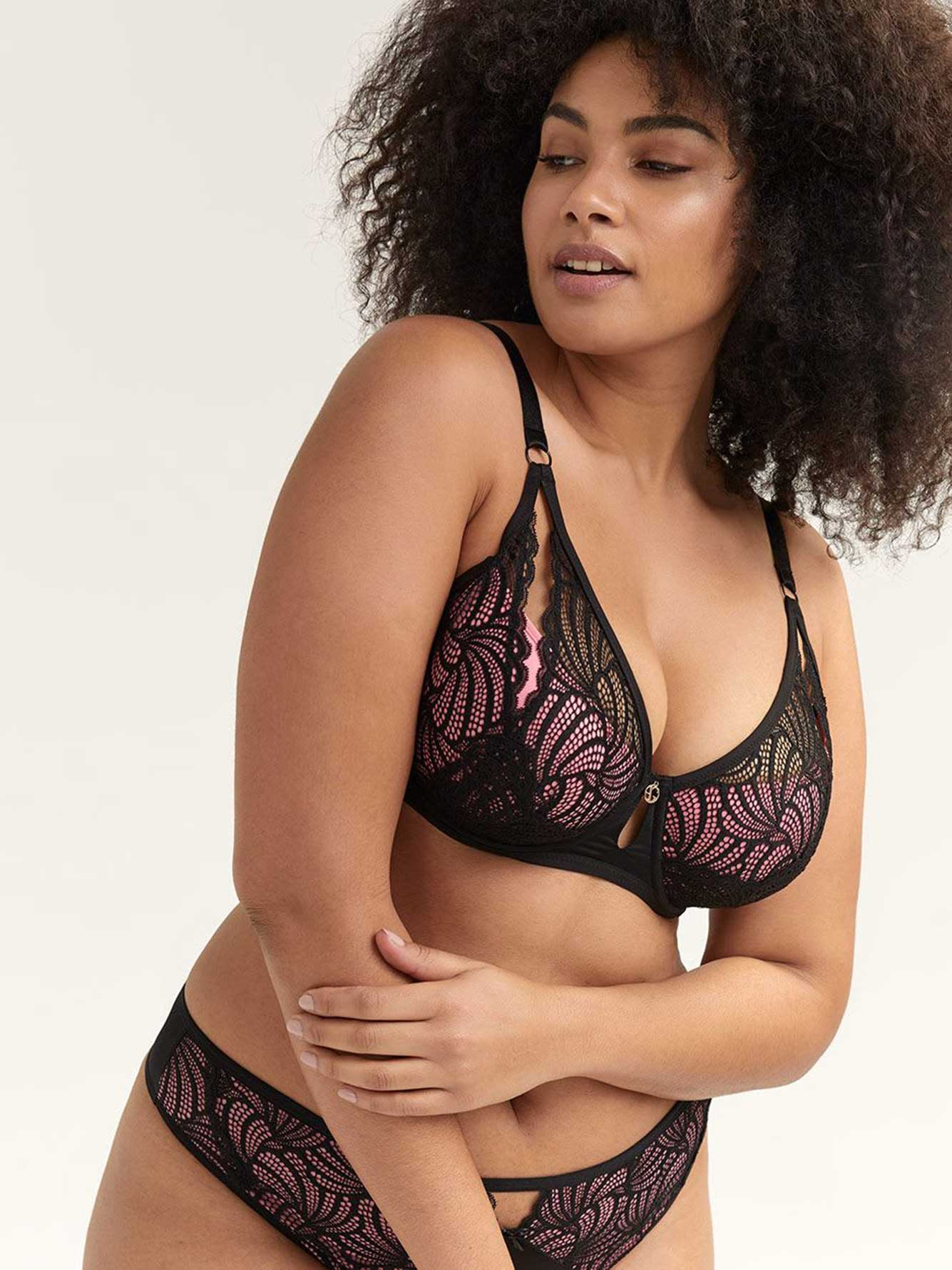 Lace & Microfiber Demi Cup Diva Bra - Ashley Graham