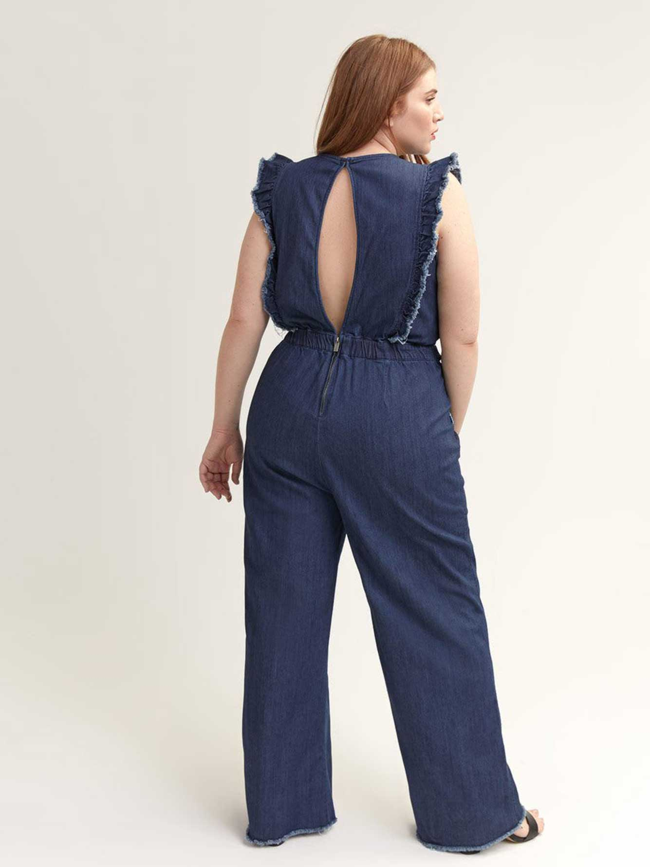 Denim Jumpsuit with Ruffles - RACHEL Rachel Roy