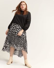 High-Low Animal Print Skirt - Lost Ink
