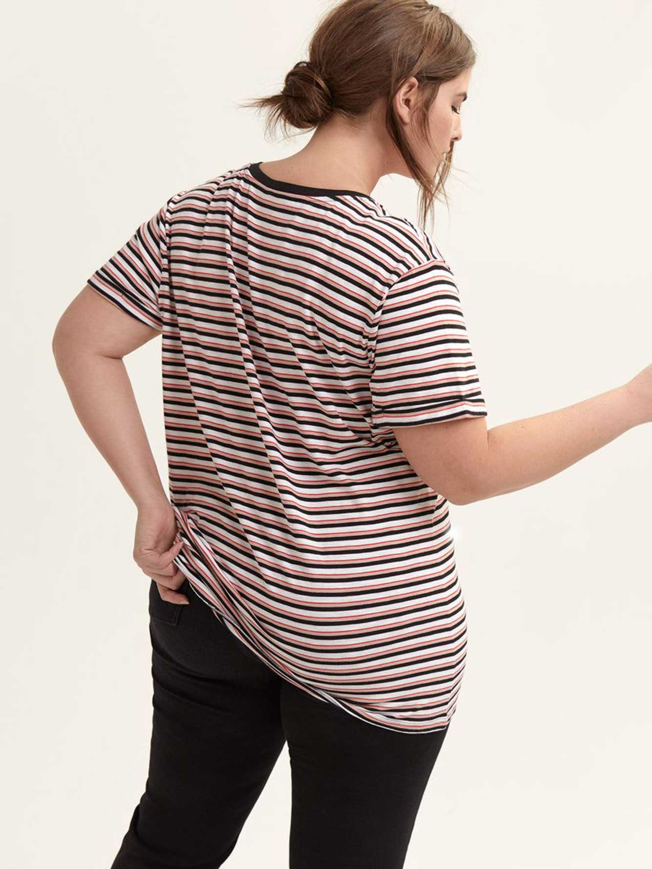 Striped Boyfriend V-Neck T-Shirt - L&L- L&L