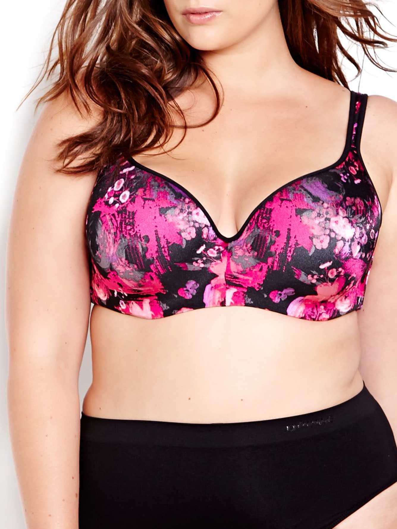Abstract Floral Print Contour Flirt Bra, Sizes G & H - Déesse Collection
