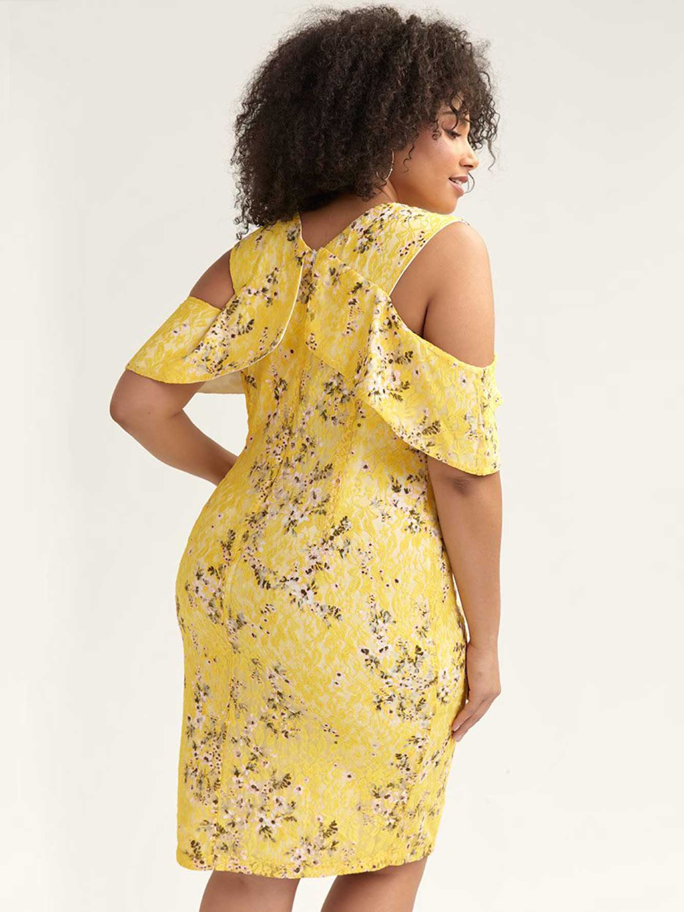 Off-the-Shoulder Yellow Lace Dress - RACHEL Rachel Roy
