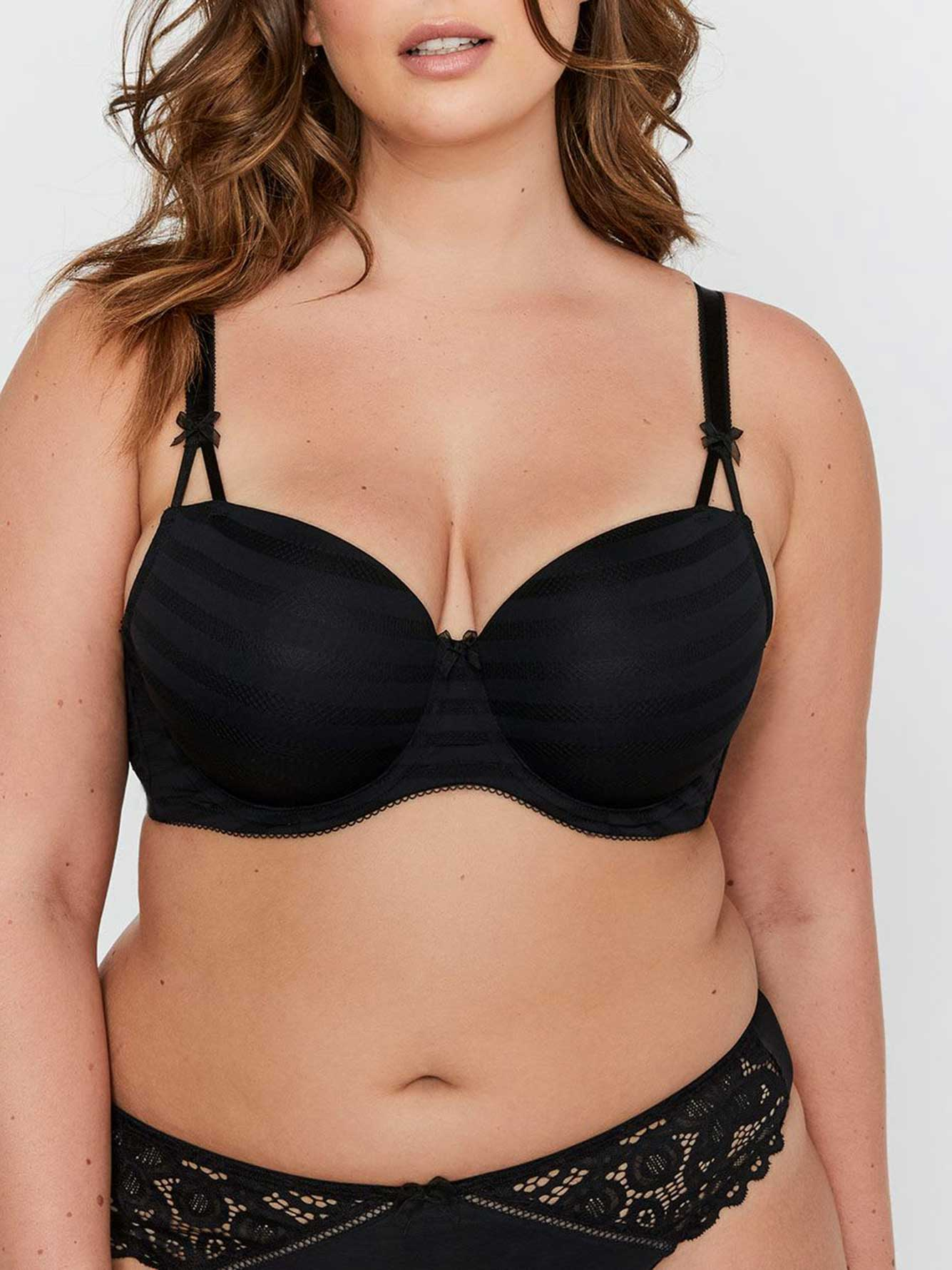 Basic Shadow Stripe Balconet Bra Size G & H - Déesse Collection