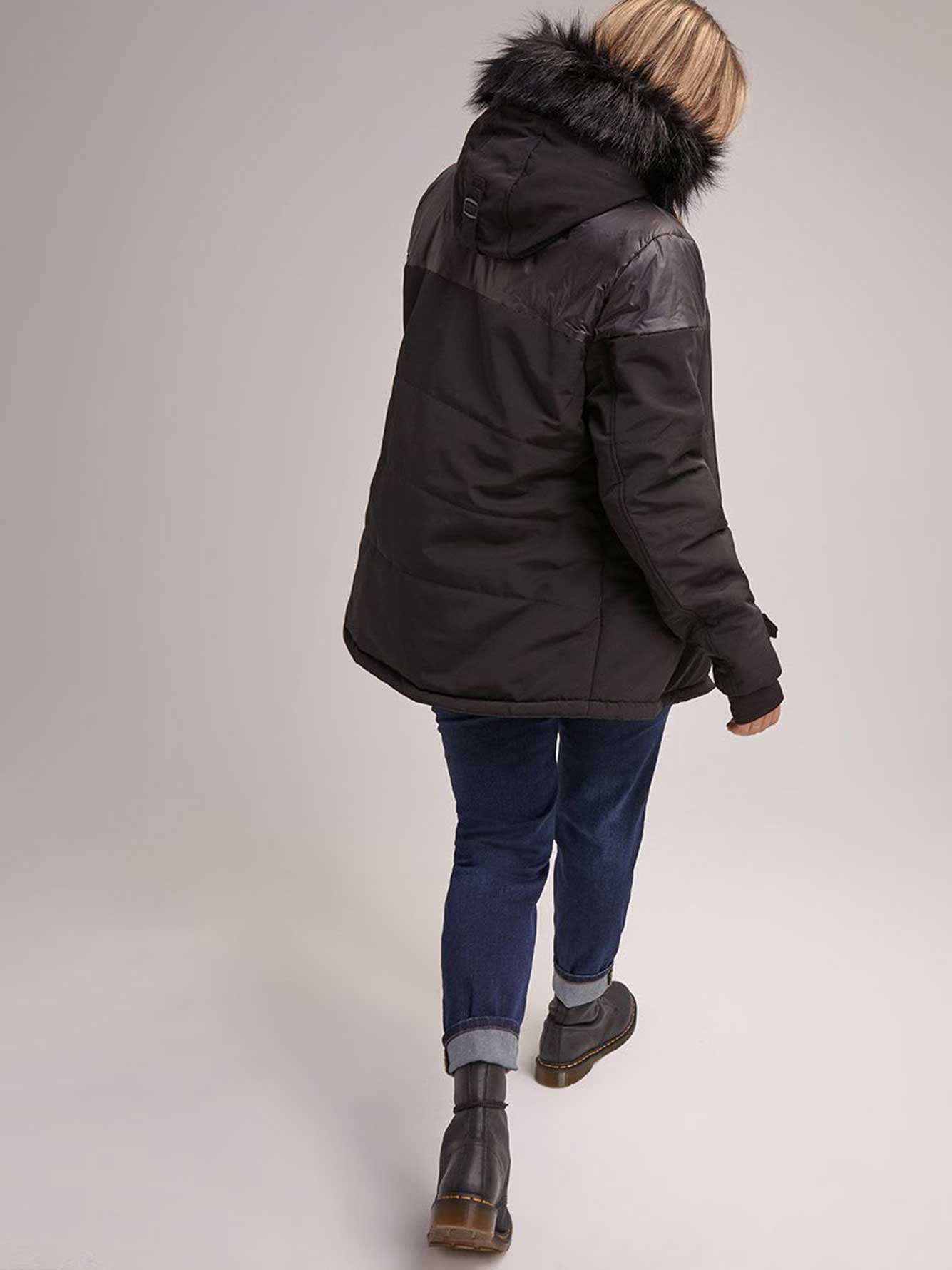 Hooded Ski Jacket with Removable Fur - LIVIK