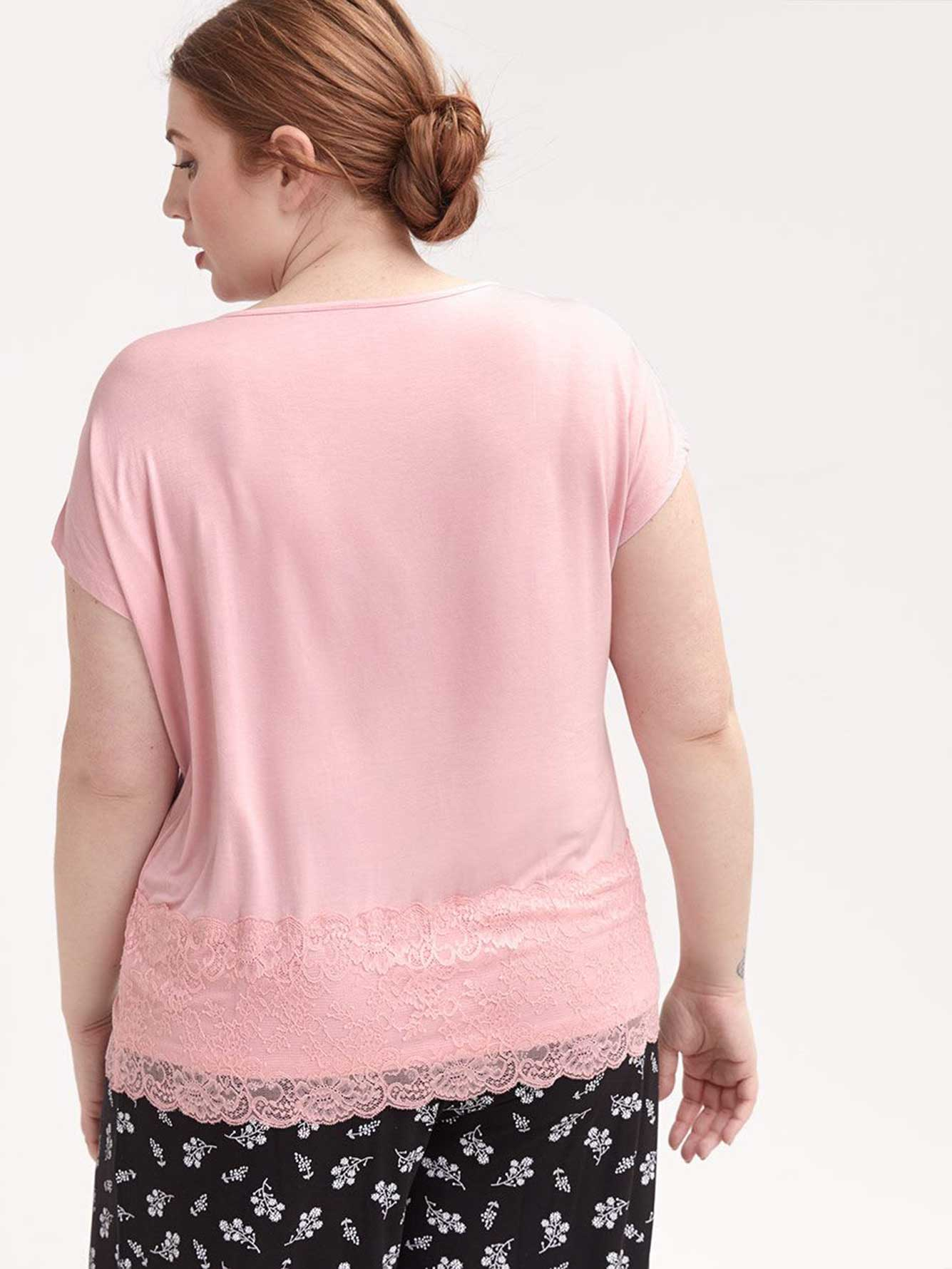 T-shirt de pyjama uni avec dentelle