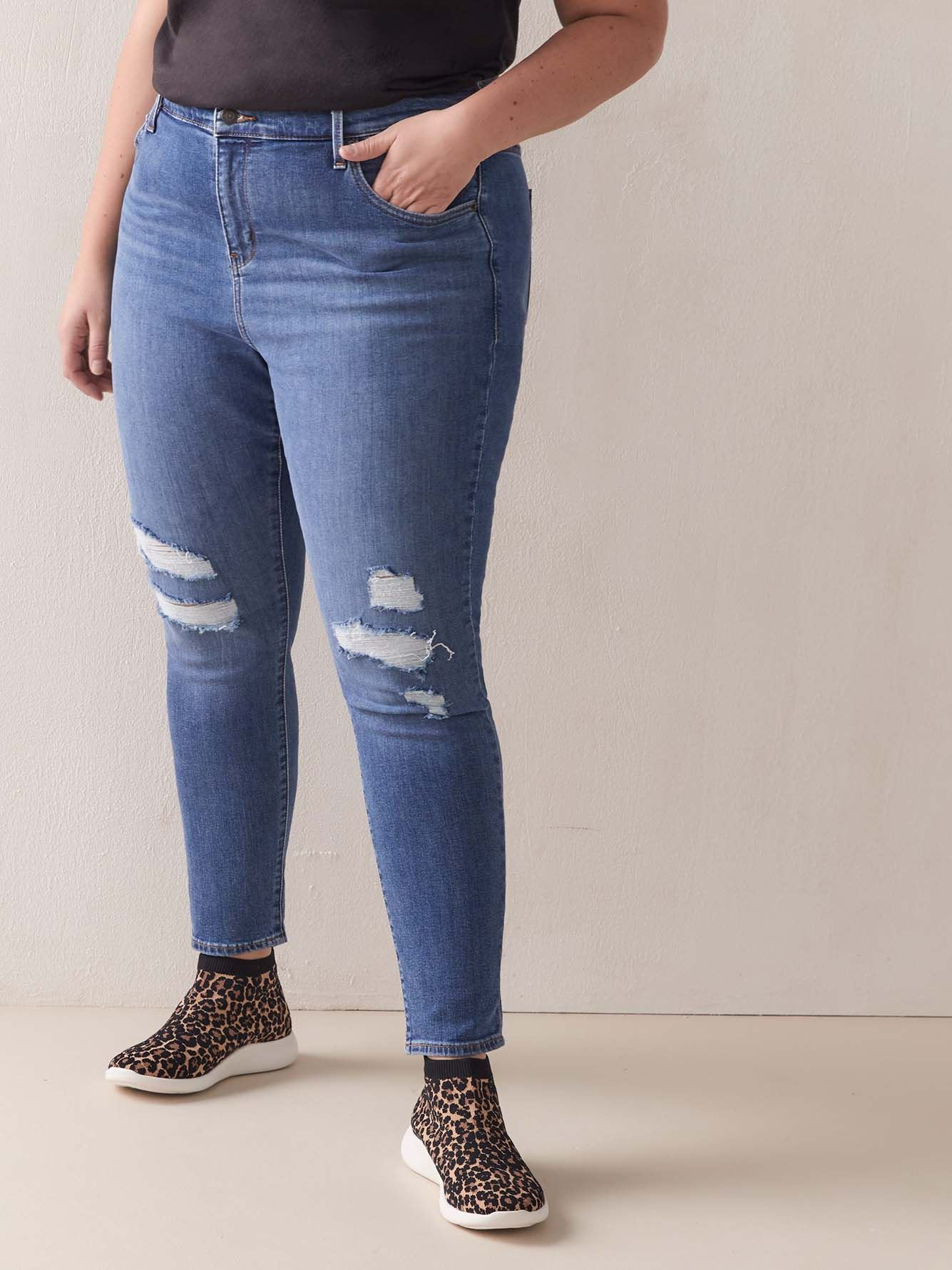 Stretchy High-Rise 721 Rip and Repair Jean - Levi's Premium