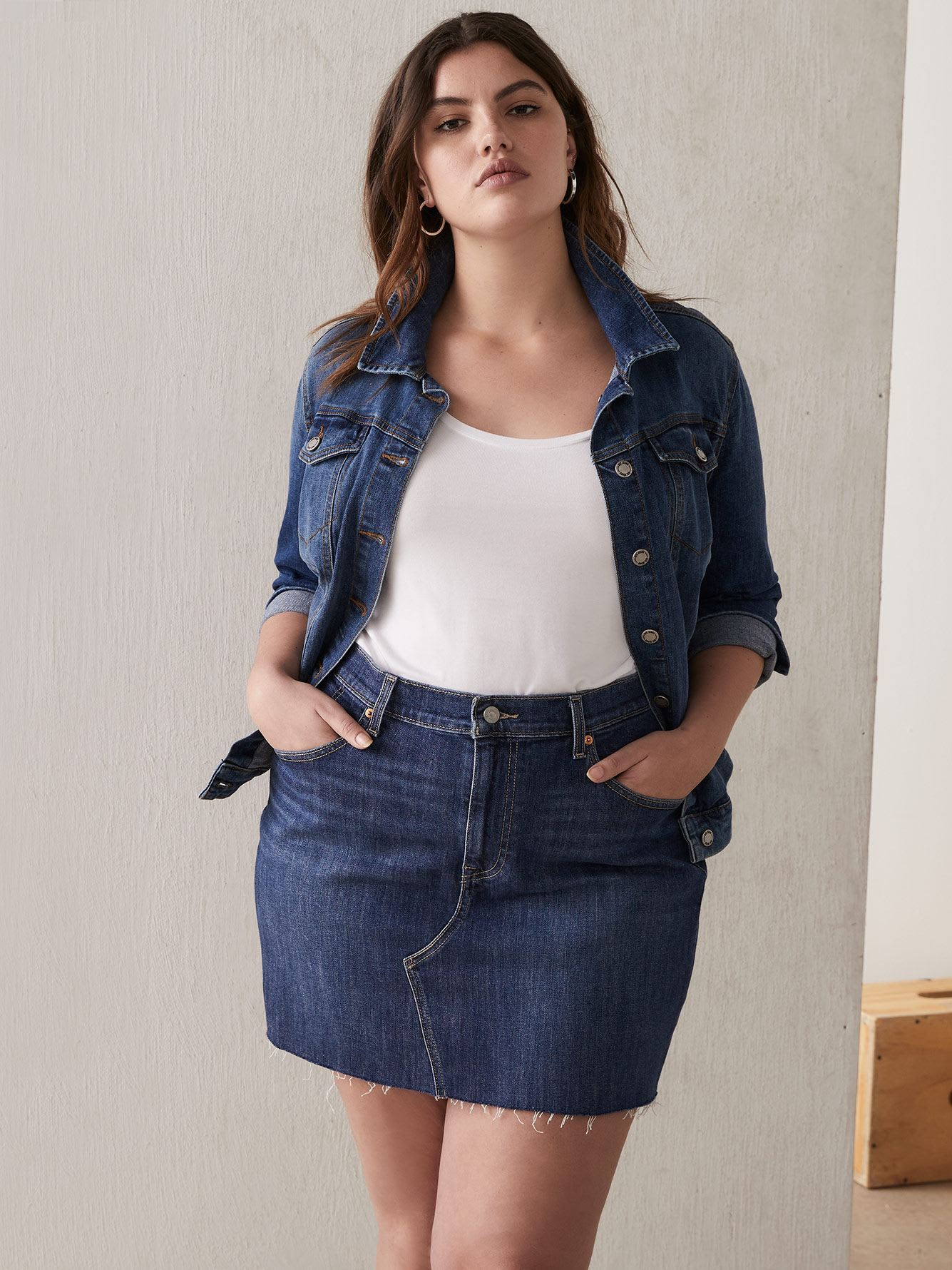 Stretchy Denim Skirt with Frayed Hem - Levi's
