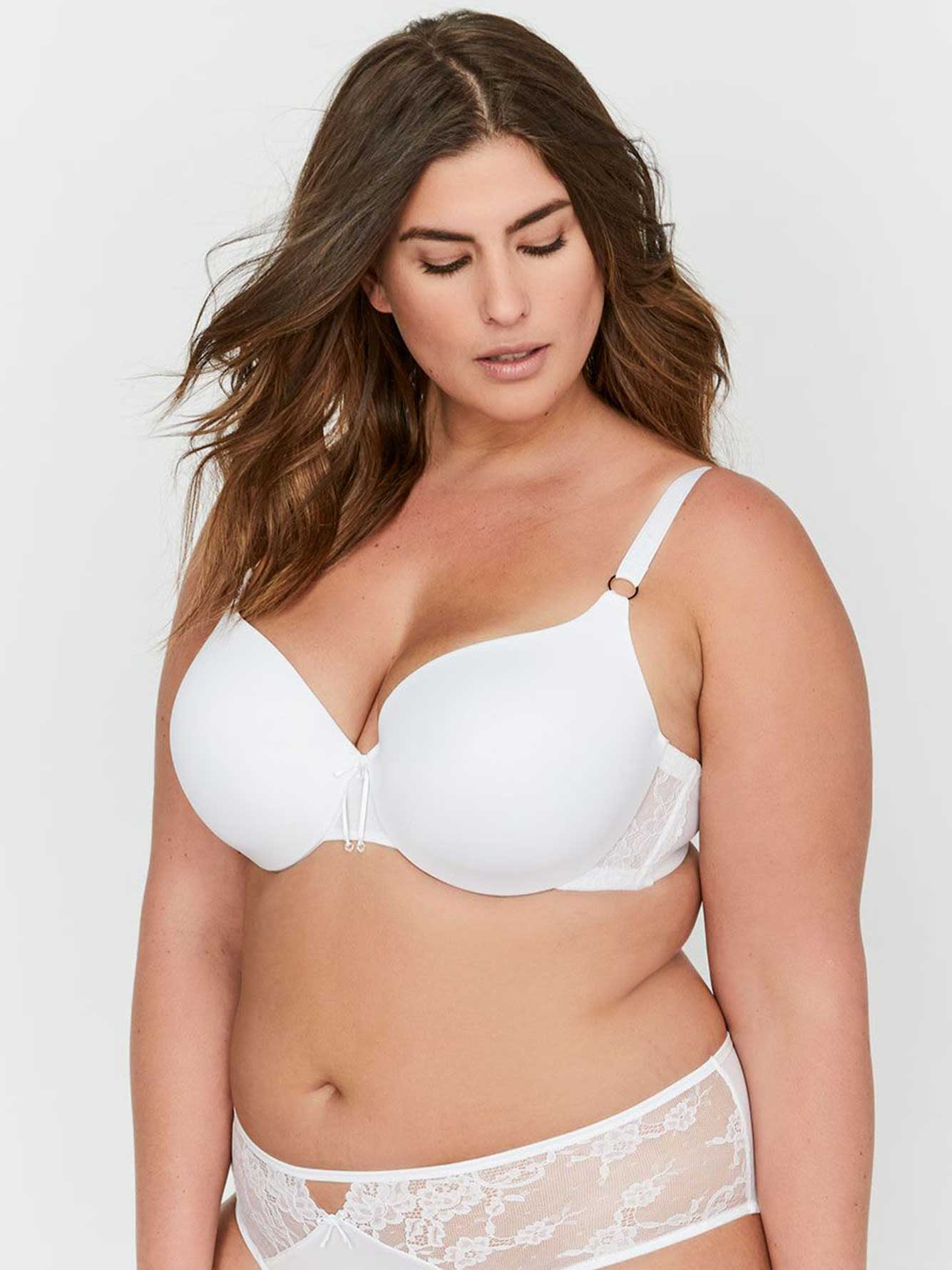 Ashley Graham Essentials Icon T-shirt Bra with Lace & Thin Micro Fiber, Size G & H