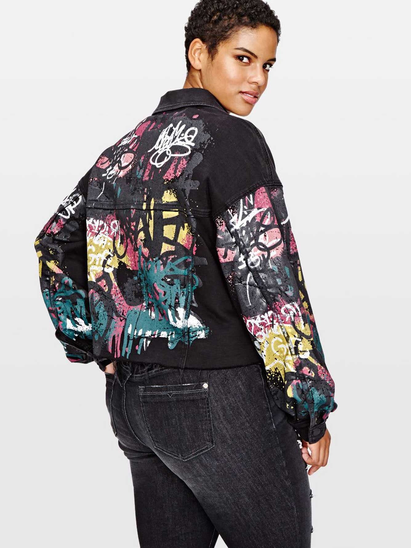 L&L Cropped Denim Jacket with Graffiti Print