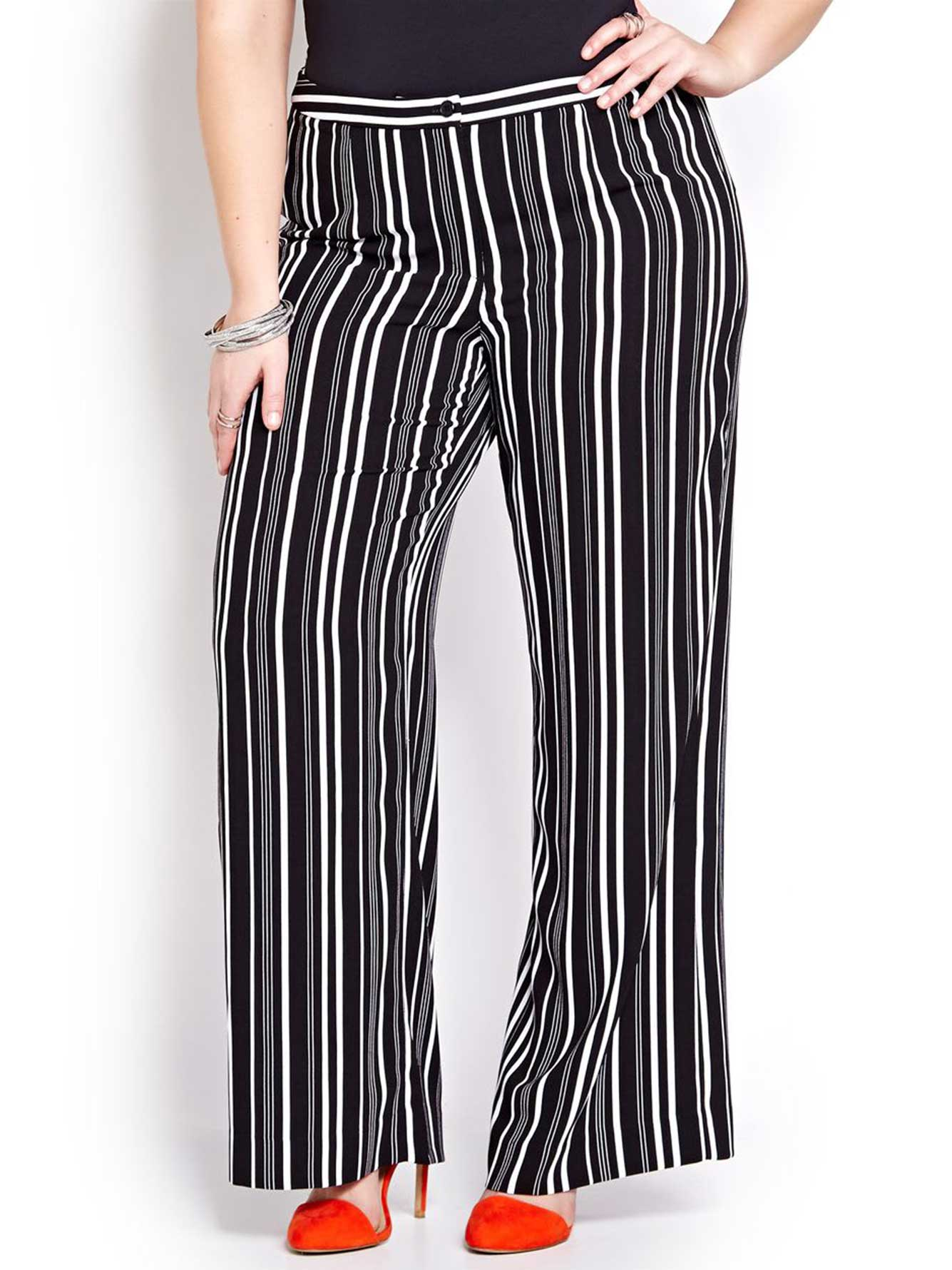 Michel Studio Striped Wide Leg Pant