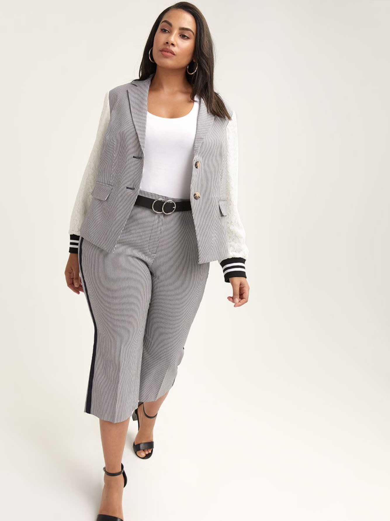 Pinstripe Billie Blazer with Mixed Fabric - RACHEL Rachel Roy