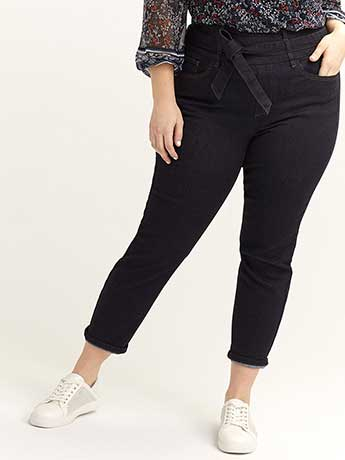High-Rise Slim Ankle Jean with Sash - L&L
