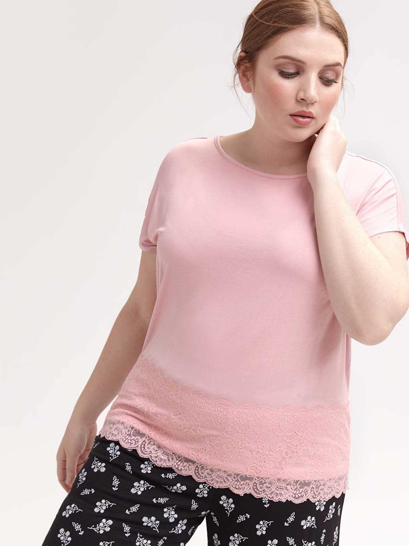 Solid Pyjama T-Shirt with Lace