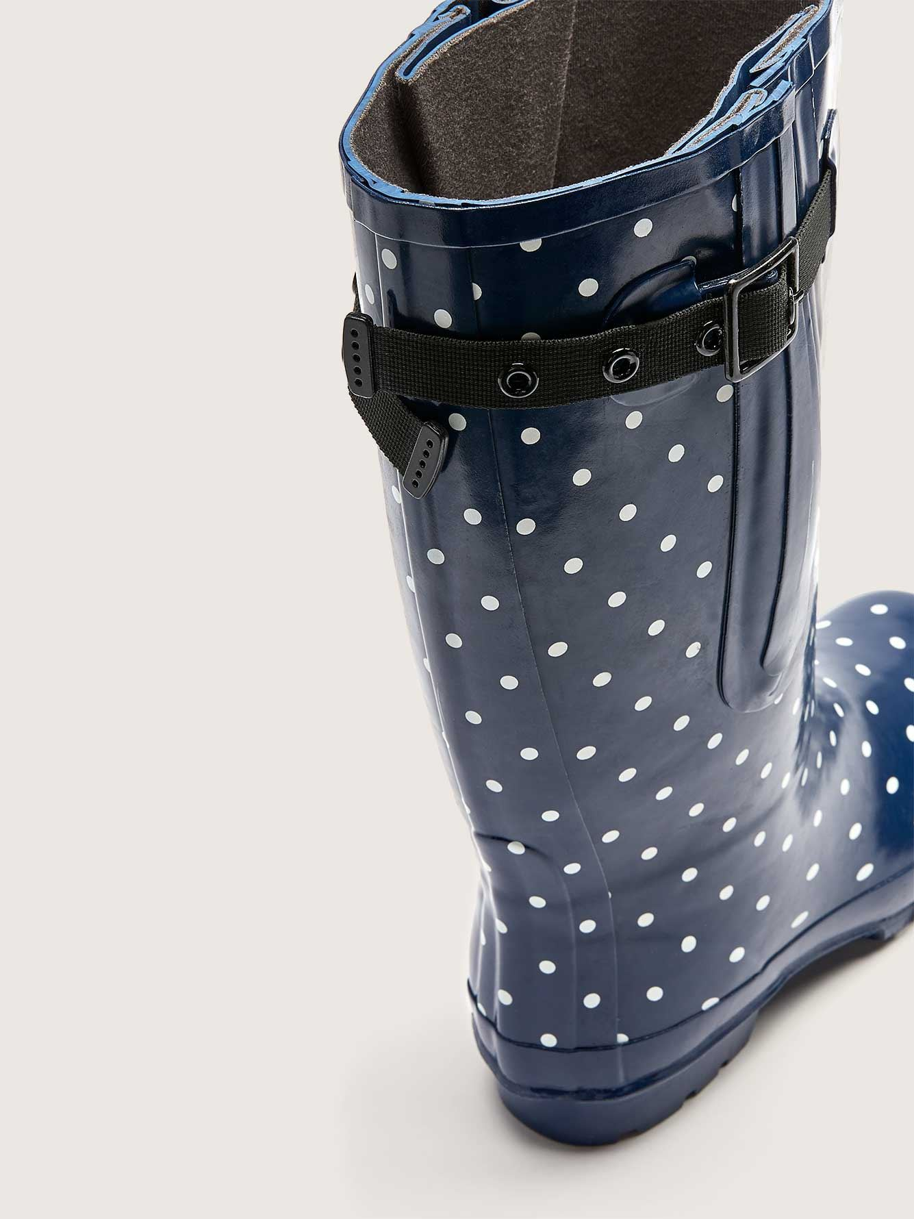 Extra Wide Calf Polka Dot Rain Boot - Jileon