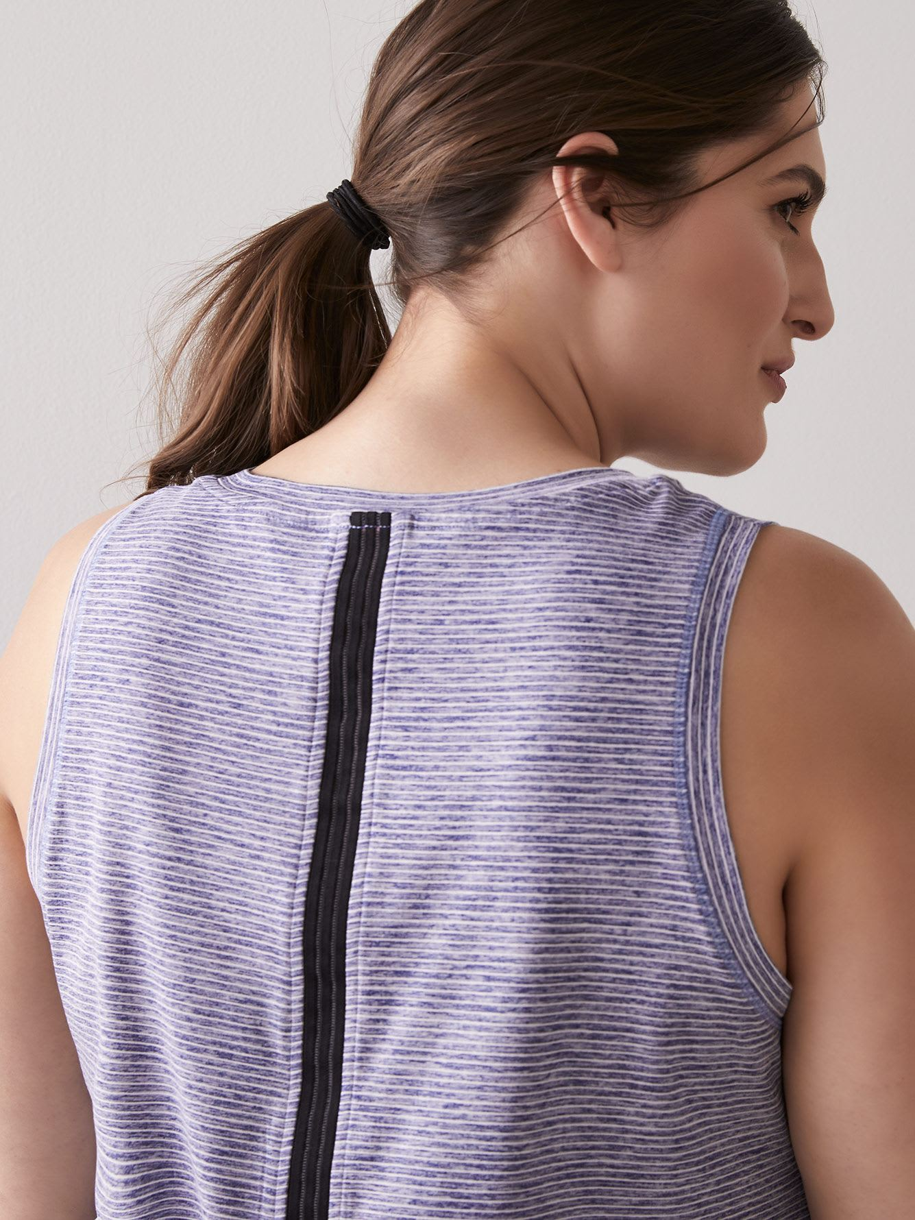Striped Tank Top with Elastic Insert at Slit Back