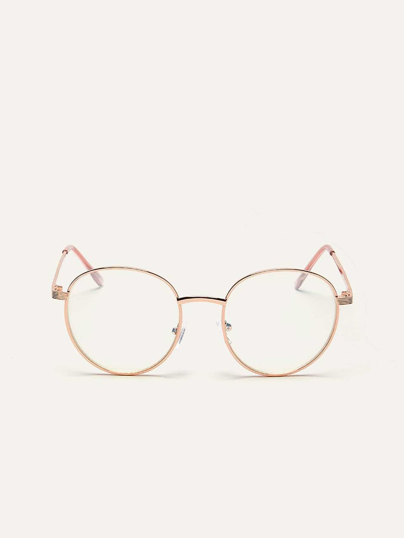Blue Lens Glasses with Metallic Frame