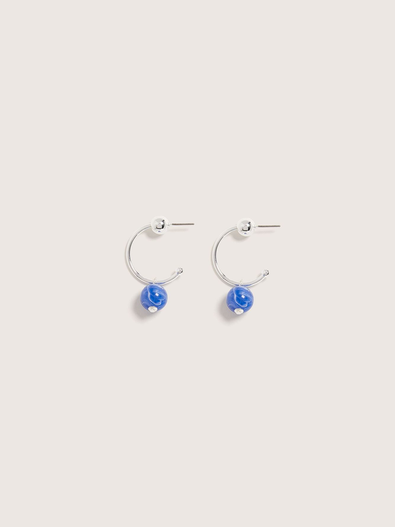 Hoop Earrings with Bead Charm - Addition Elle