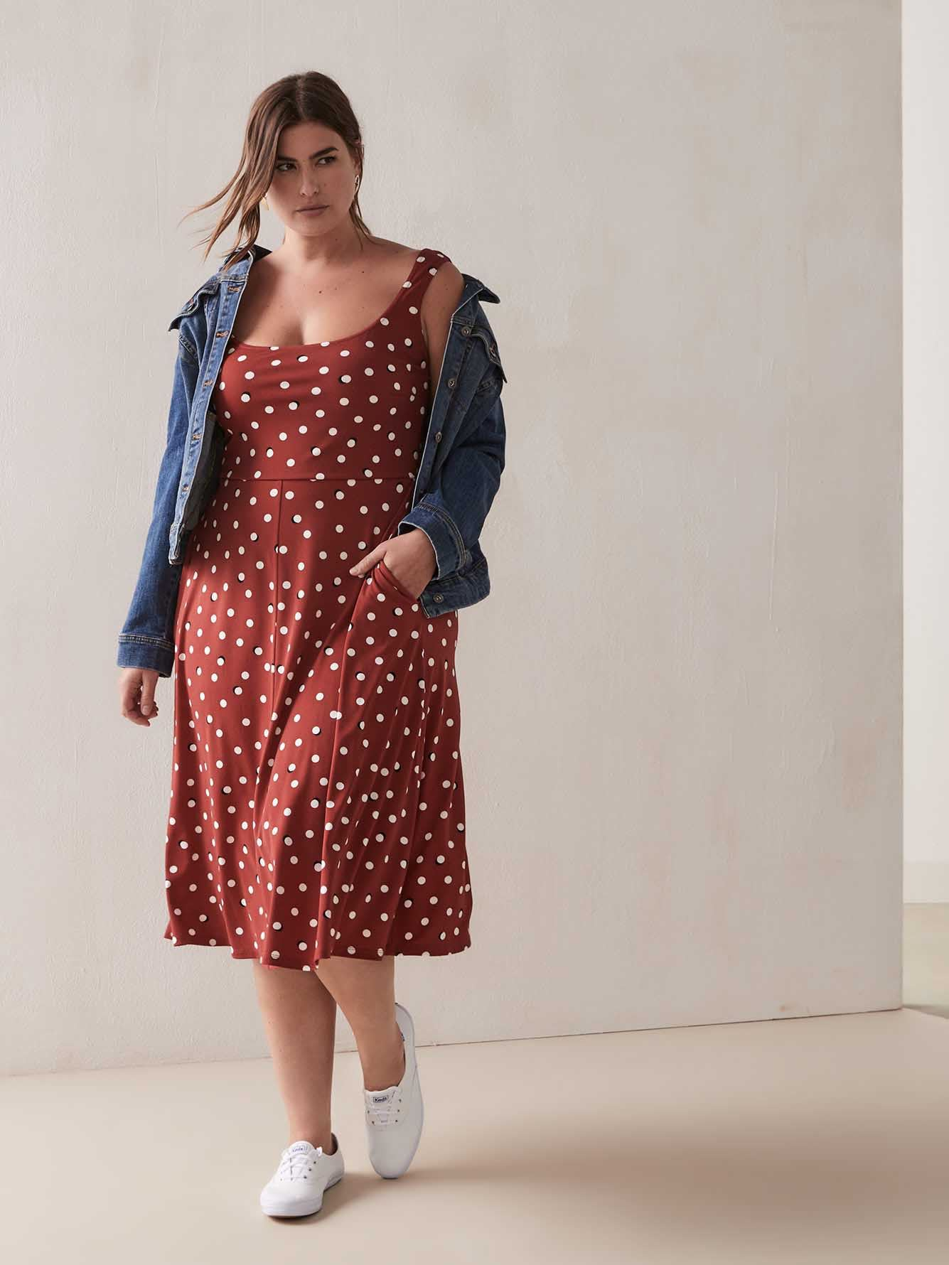 Polka Dot Dress with Square Neck